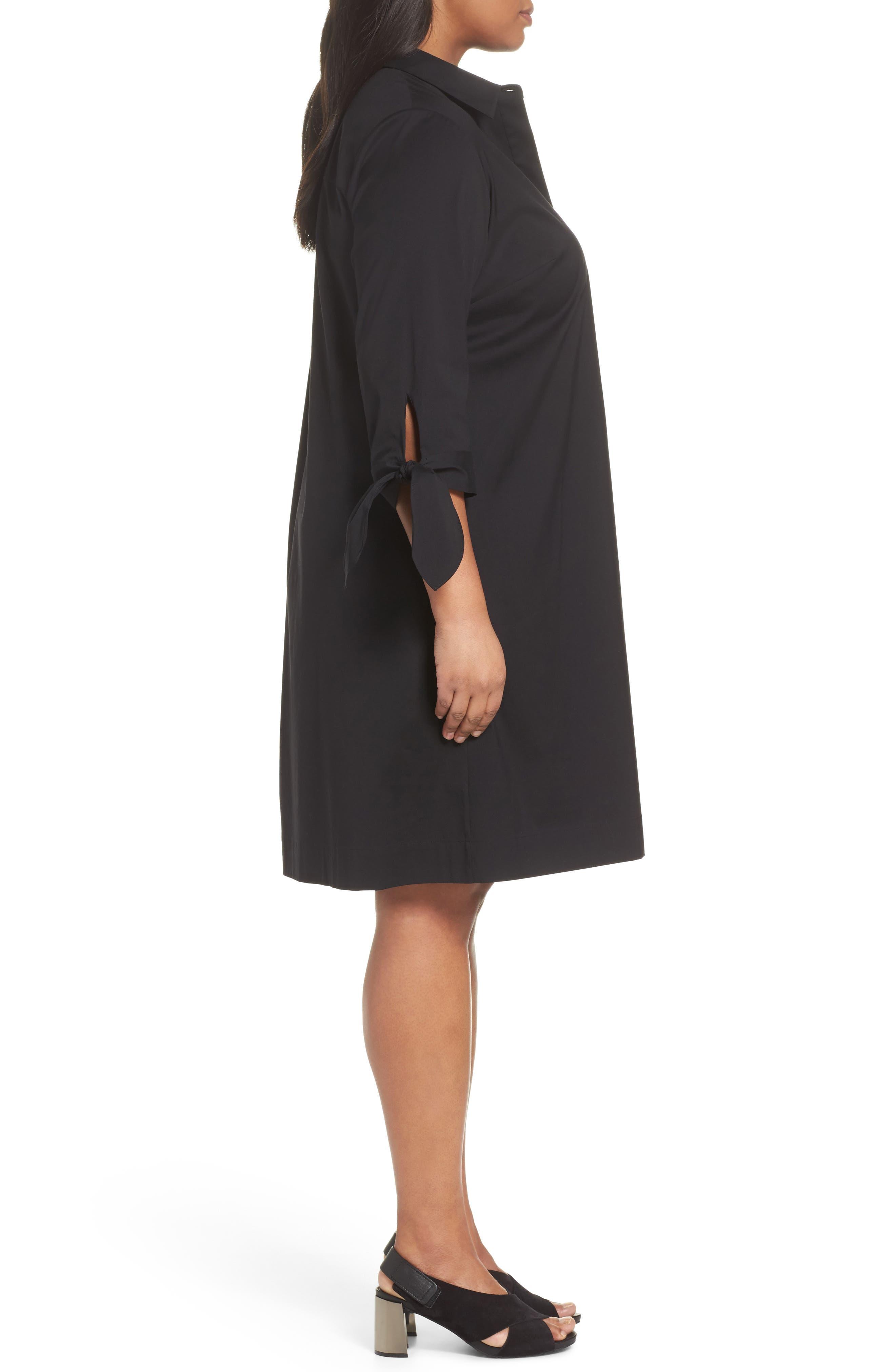 Lafayette 148 Talia Shirtdress,                             Alternate thumbnail 3, color,                             Black