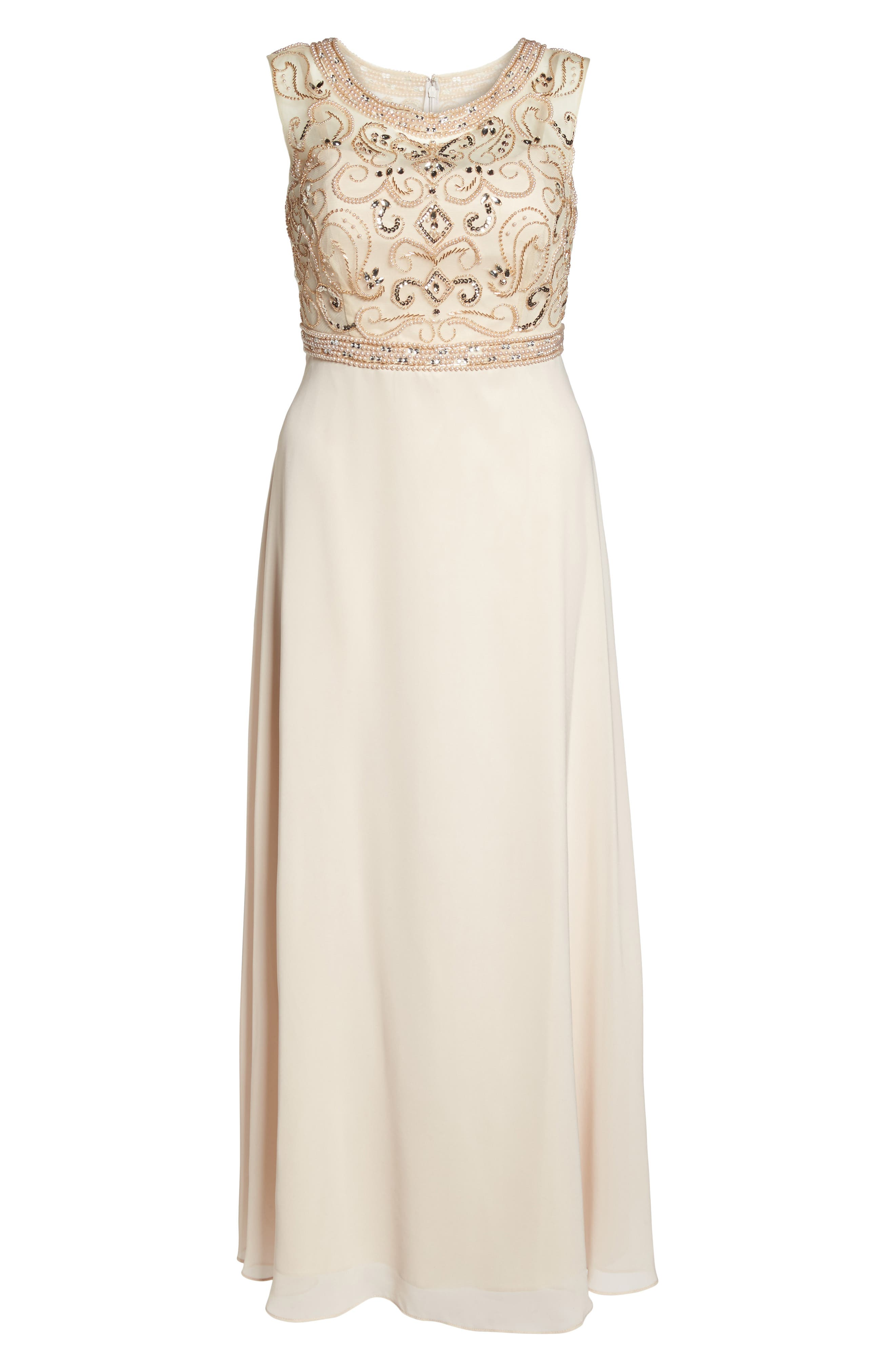 Sleeveless Beaded Gown,                             Alternate thumbnail 6, color,                             Champagne