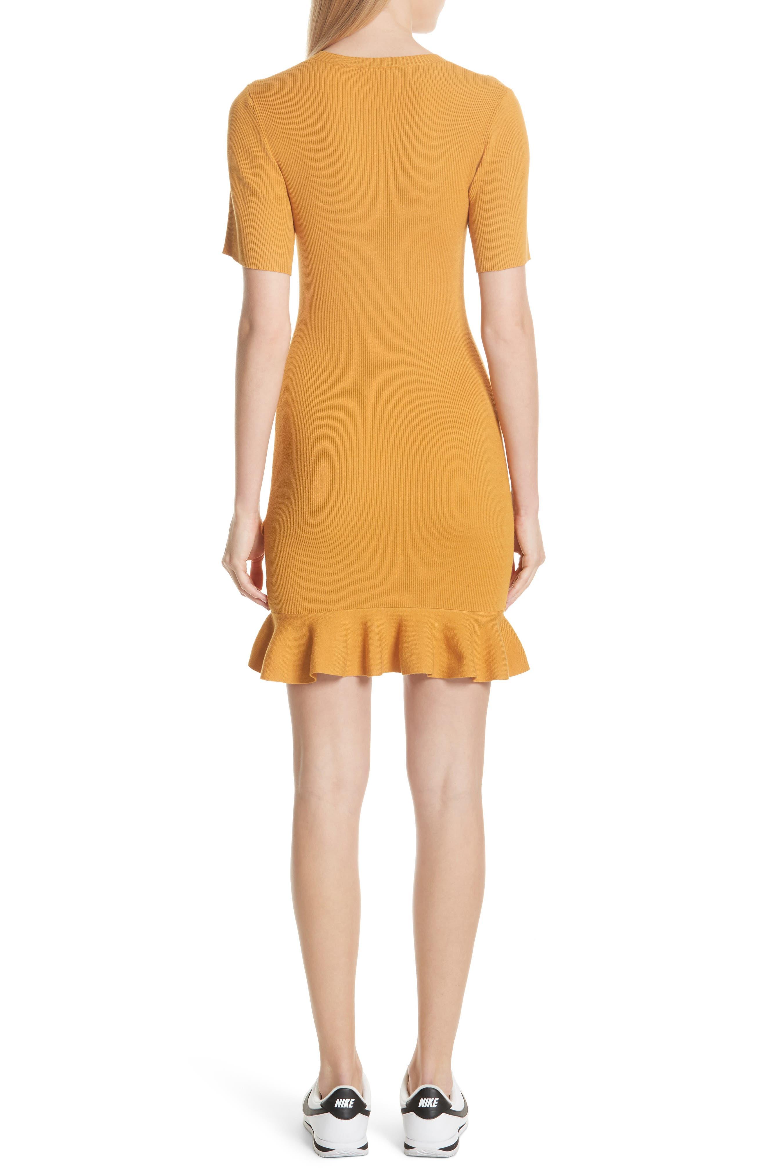 Tulum Ribbed Ruffle Hem Dress,                             Alternate thumbnail 2, color,                             Putty Yellow