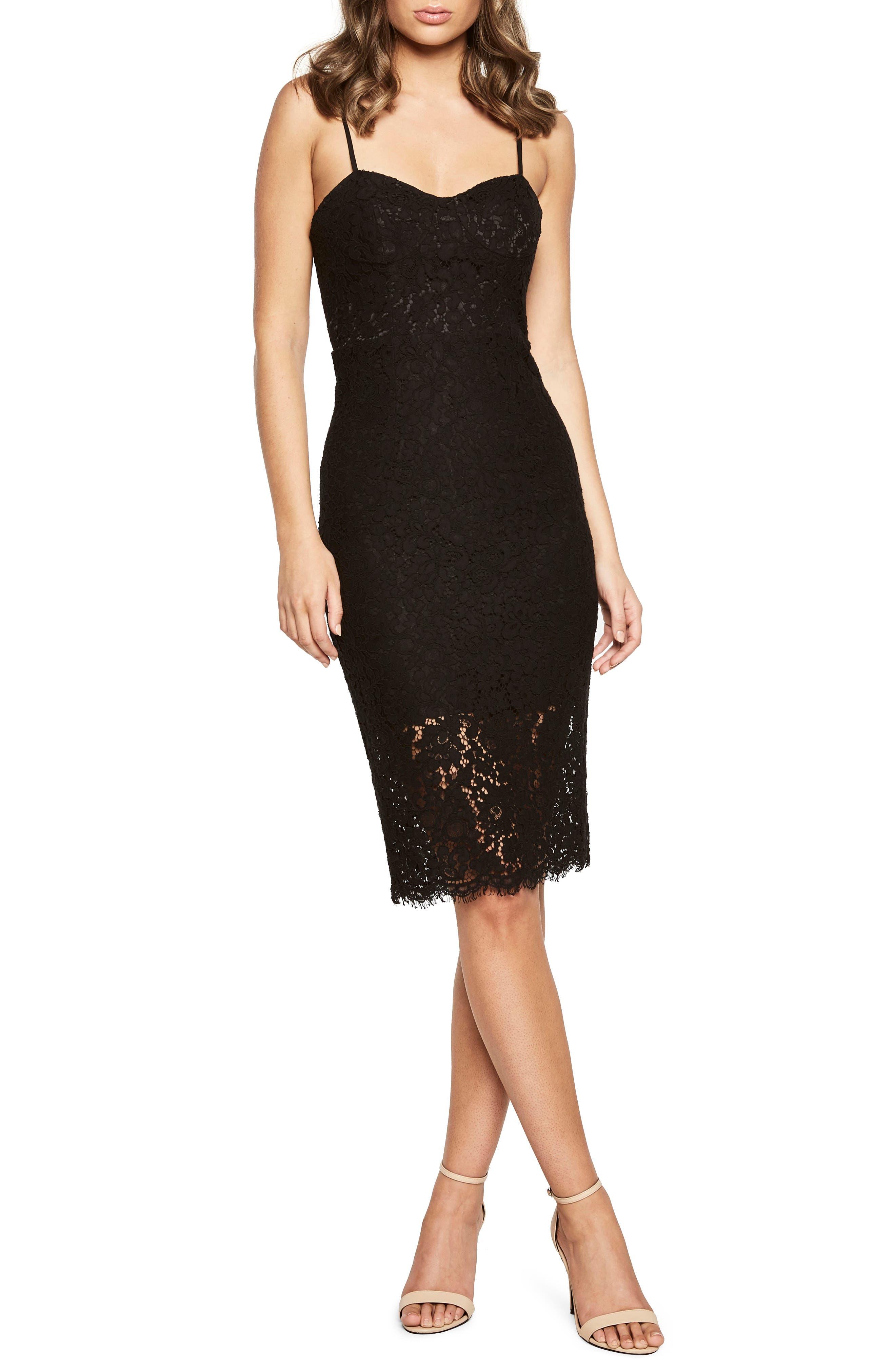 Pierre Lace Dress,                             Main thumbnail 1, color,                             Black