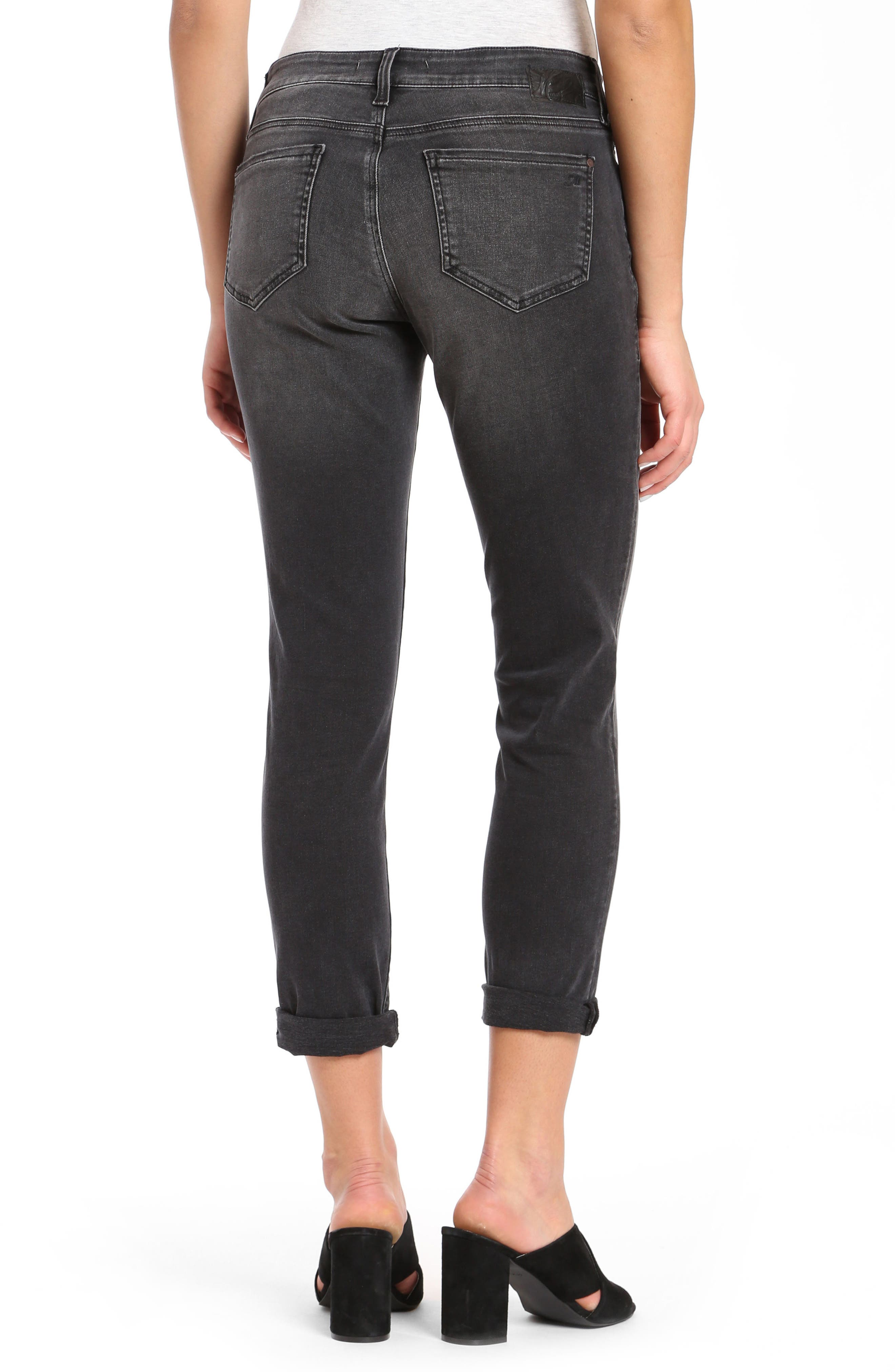 Alissa Super Skinny Ankle Jeans,                             Alternate thumbnail 3, color,                             Smoke Ripped Nolita