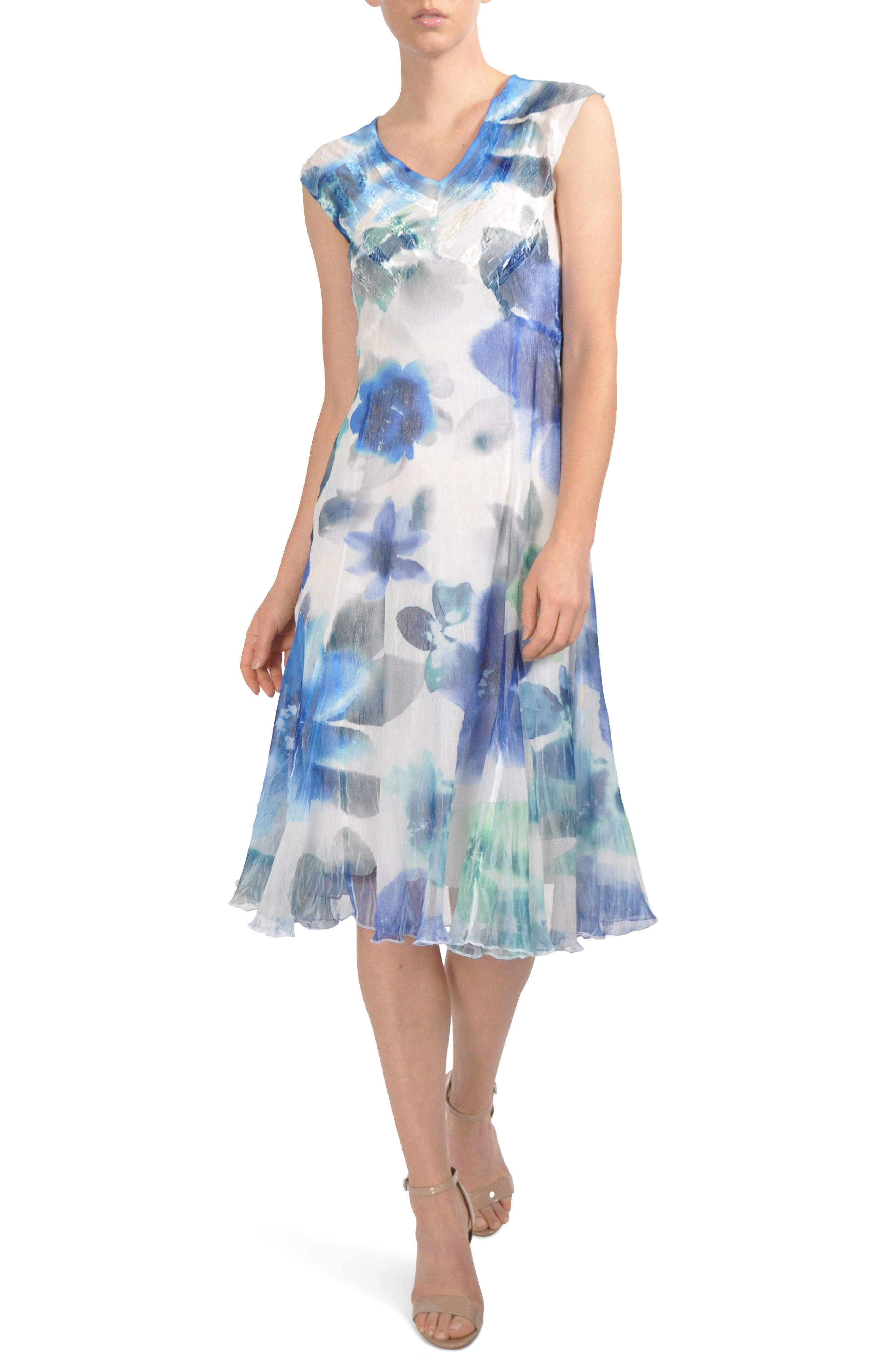 V-Neck Chiffon Tea Length Dress,                             Main thumbnail 1, color,                             Azure Rainbow