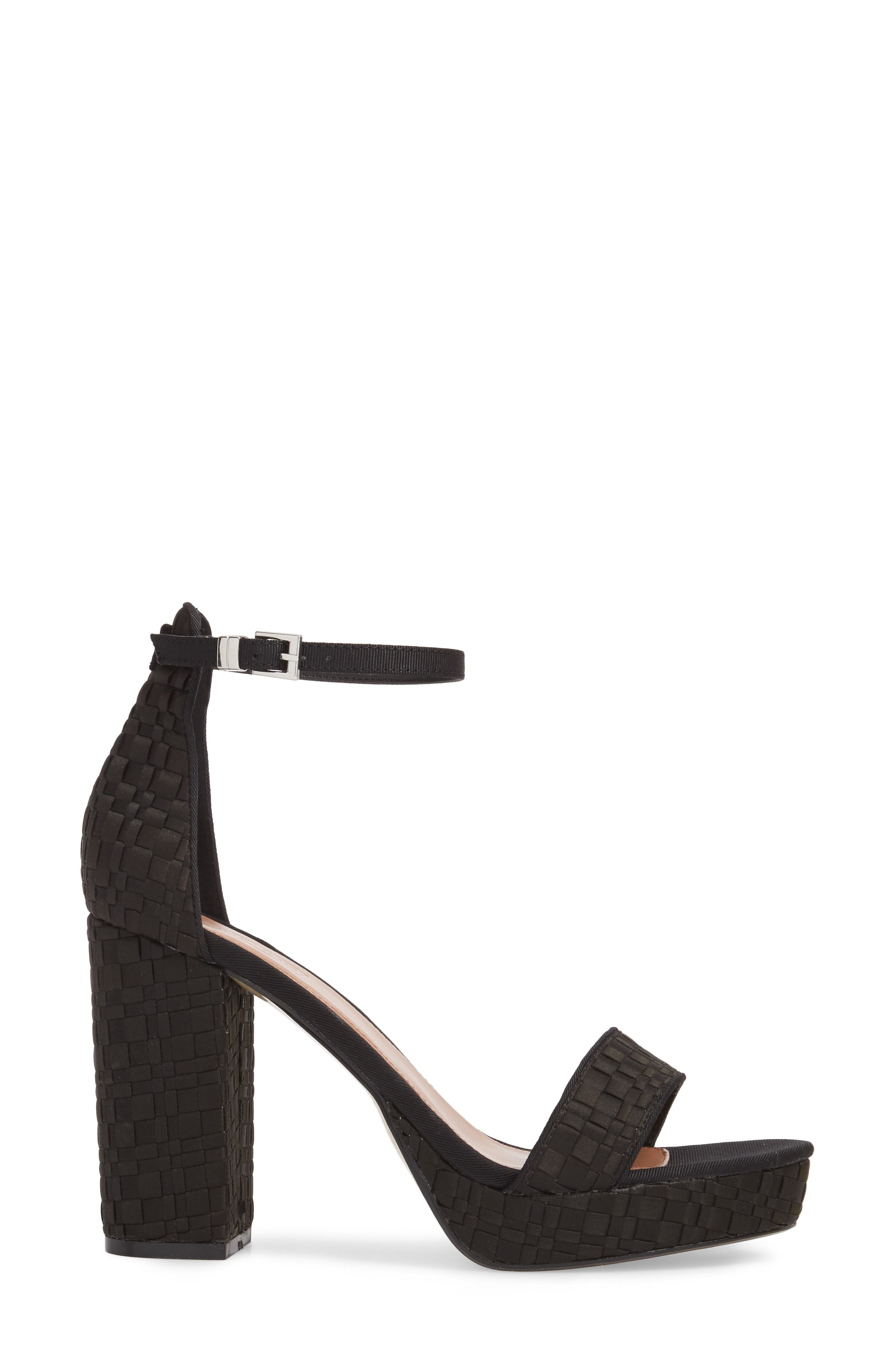Sloane Woven Platform Sandal,                             Alternate thumbnail 3, color,                             Black