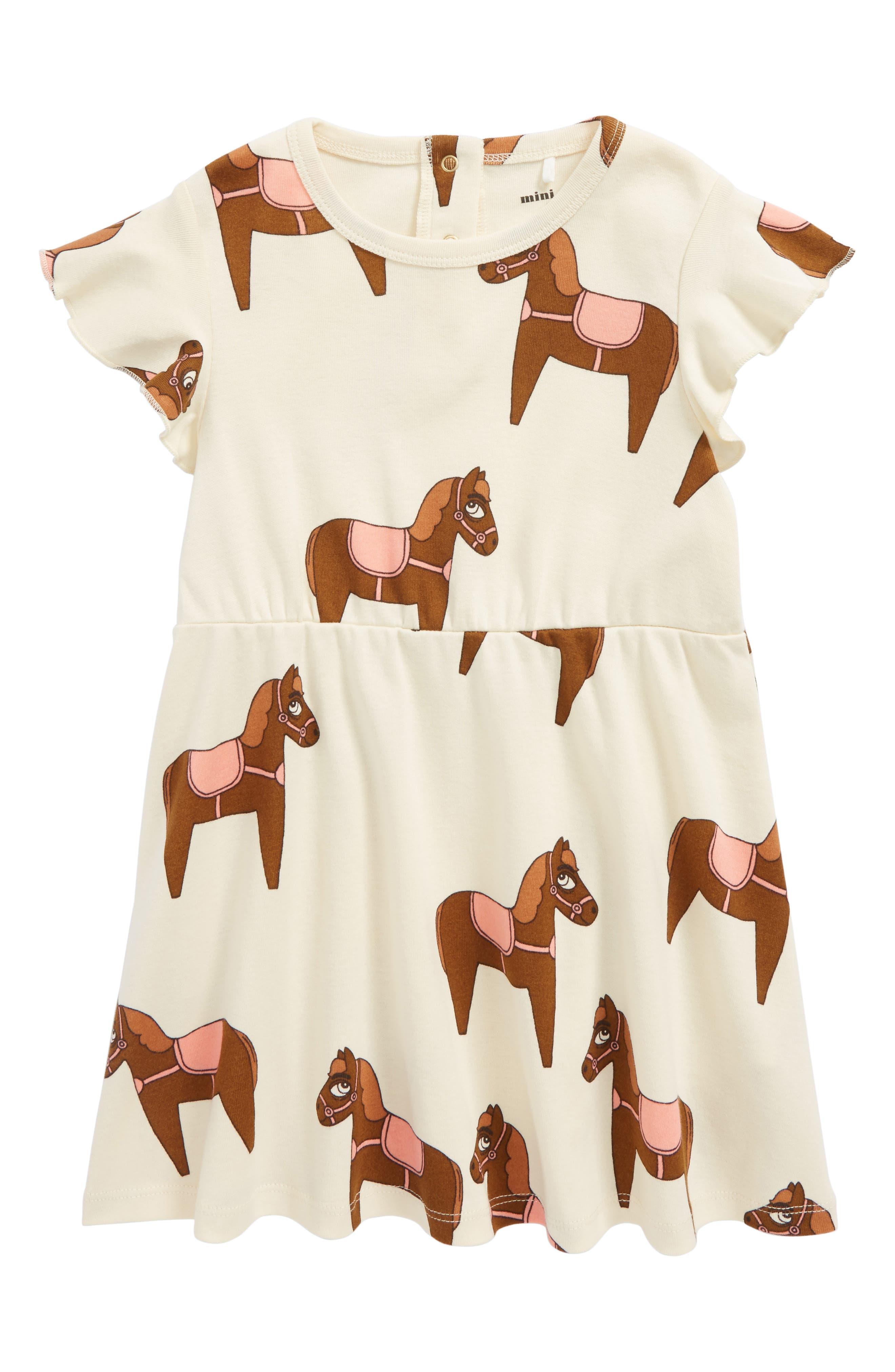 Mini Rodini Horse Print Organic Cotton Dress (Toddler Girls & Little Girls)