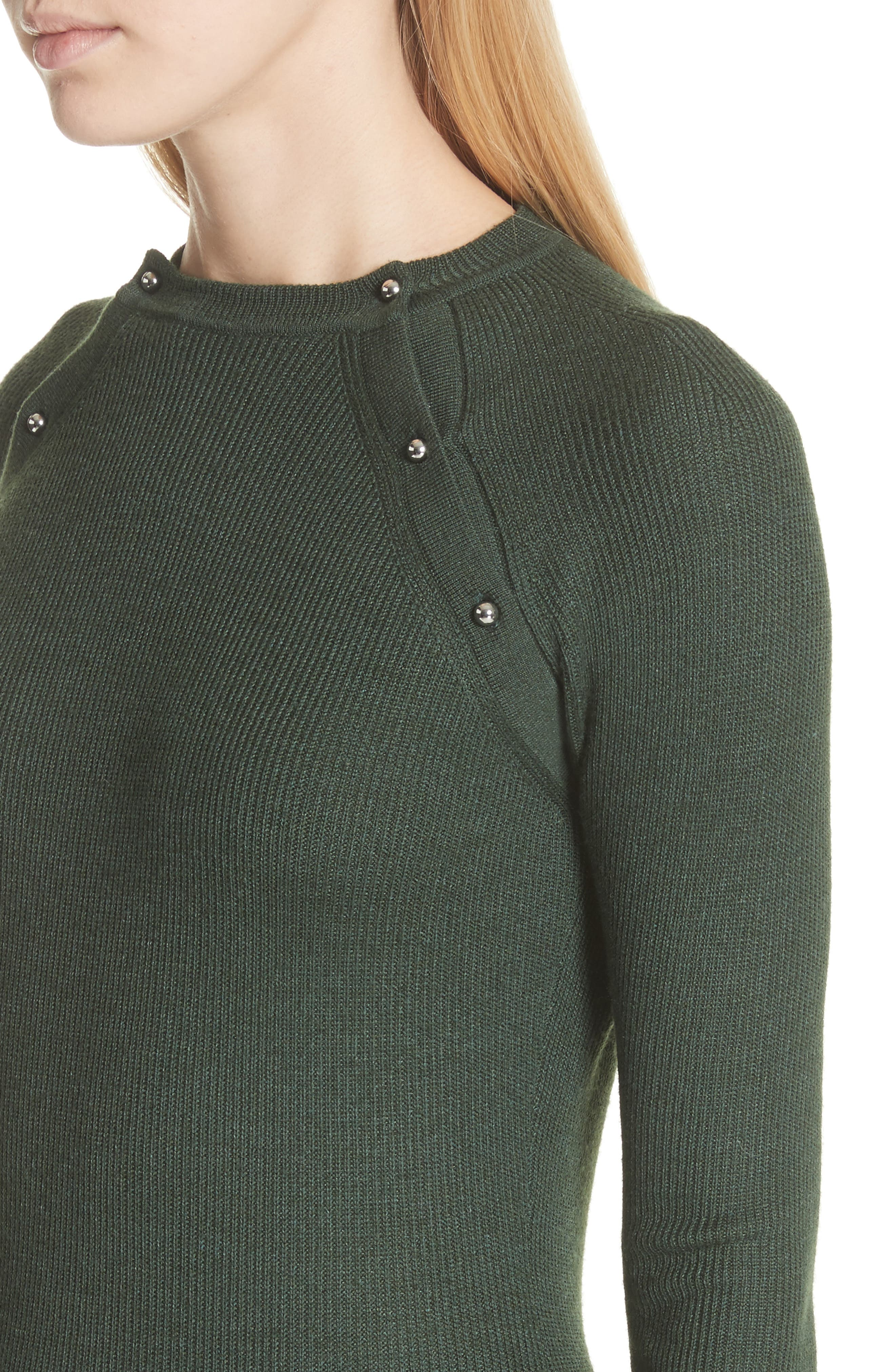 Button Seam Silk & Merino Wool Sweater,                             Alternate thumbnail 4, color,                             Seaweed