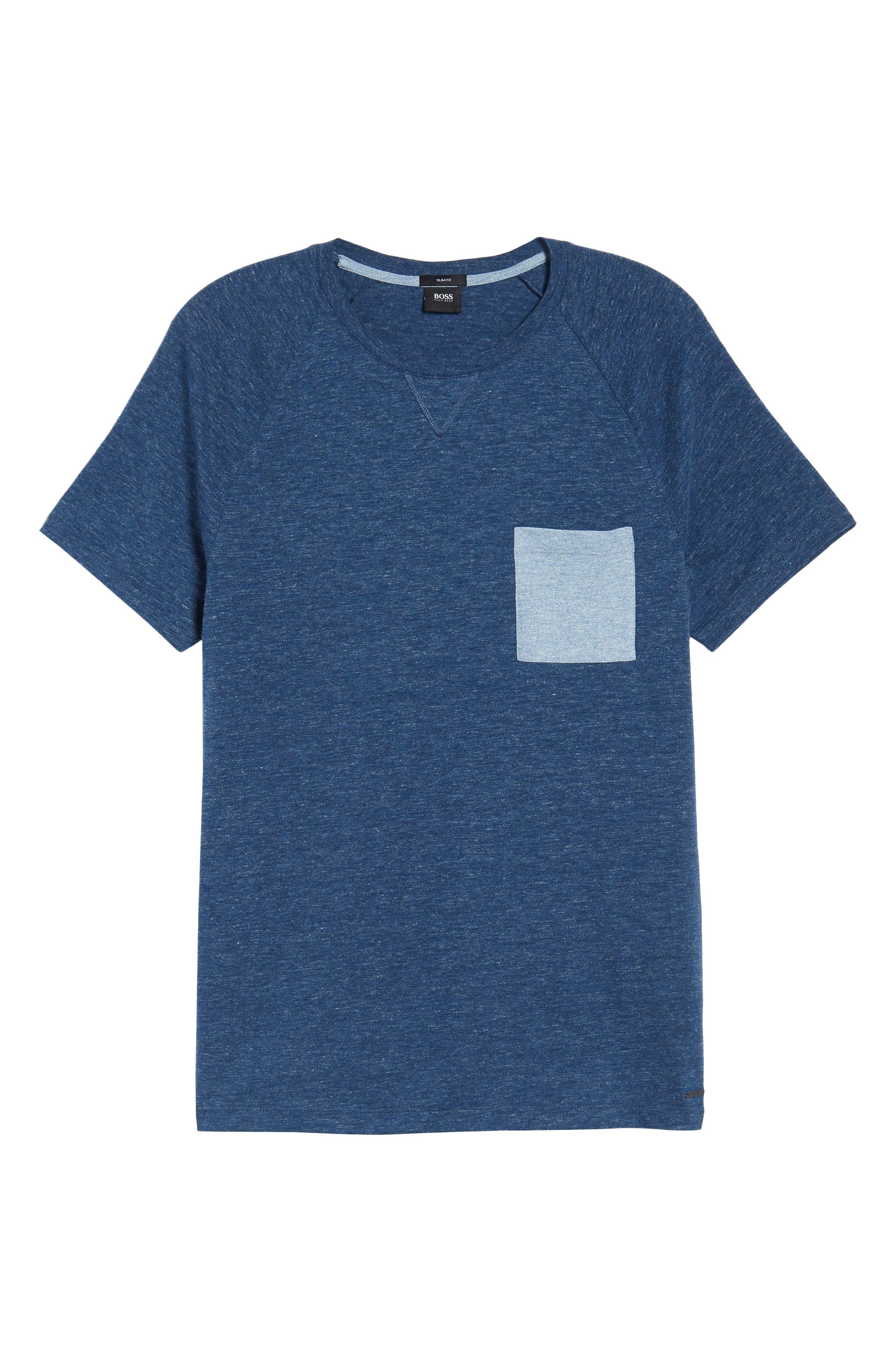 Tessler Slim Fit Pocket T-Shirt,                             Alternate thumbnail 6, color,                             Blue