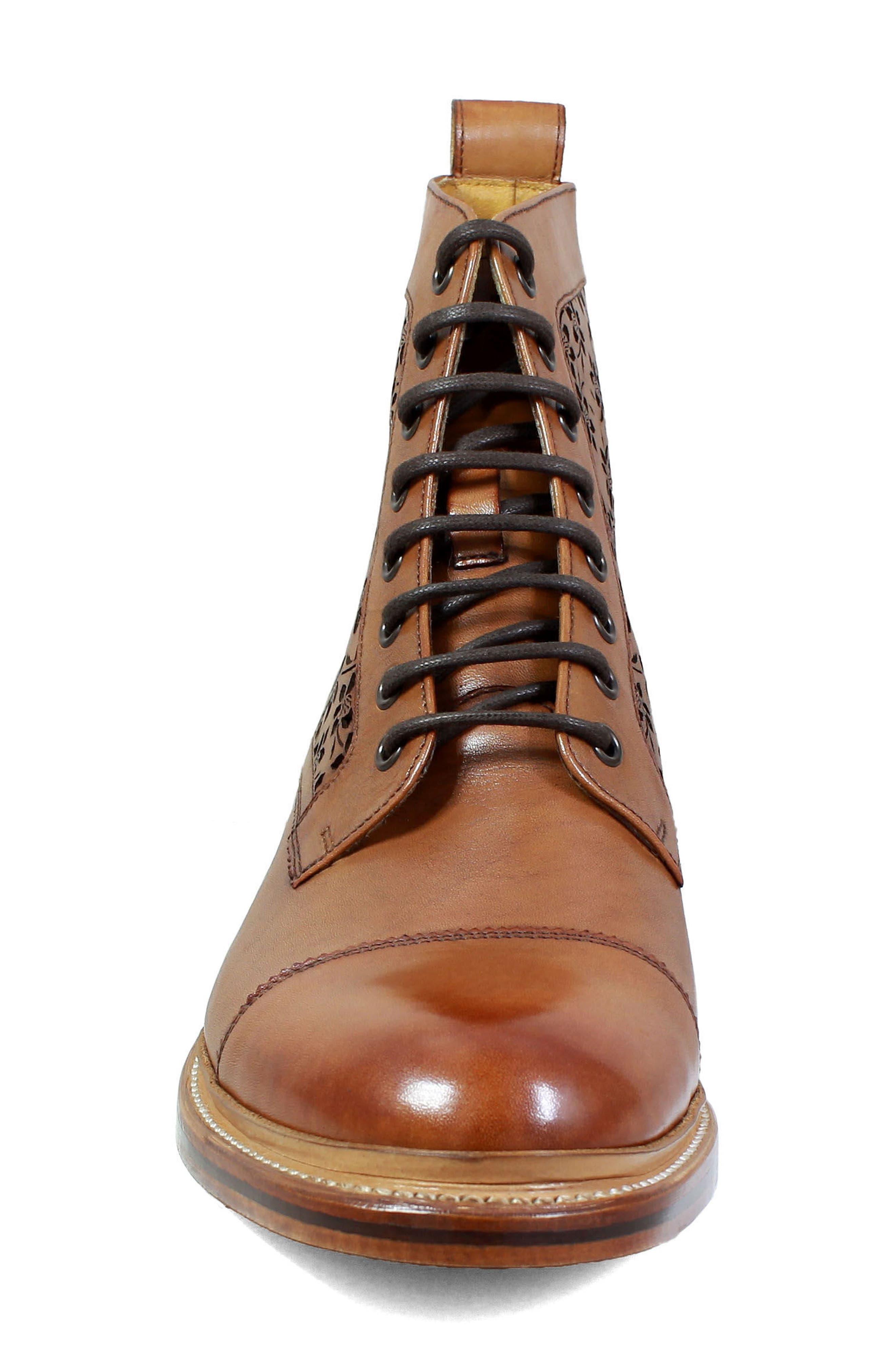 M2 Laser Cut Boot,                             Alternate thumbnail 4, color,                             Cognac Leather