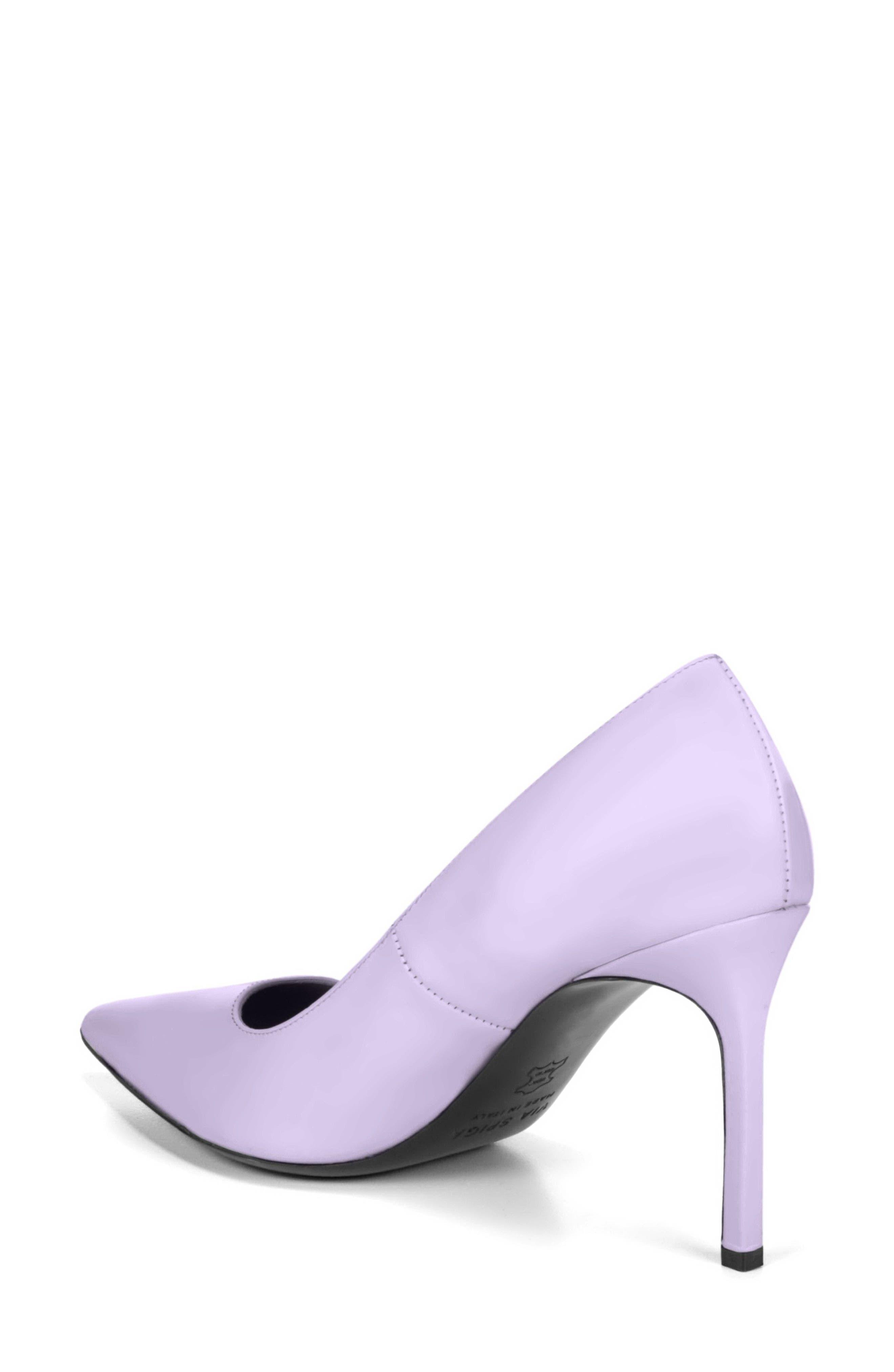 Nikole Pointy Toe Pump,                             Alternate thumbnail 2, color,                             Lilac Leather