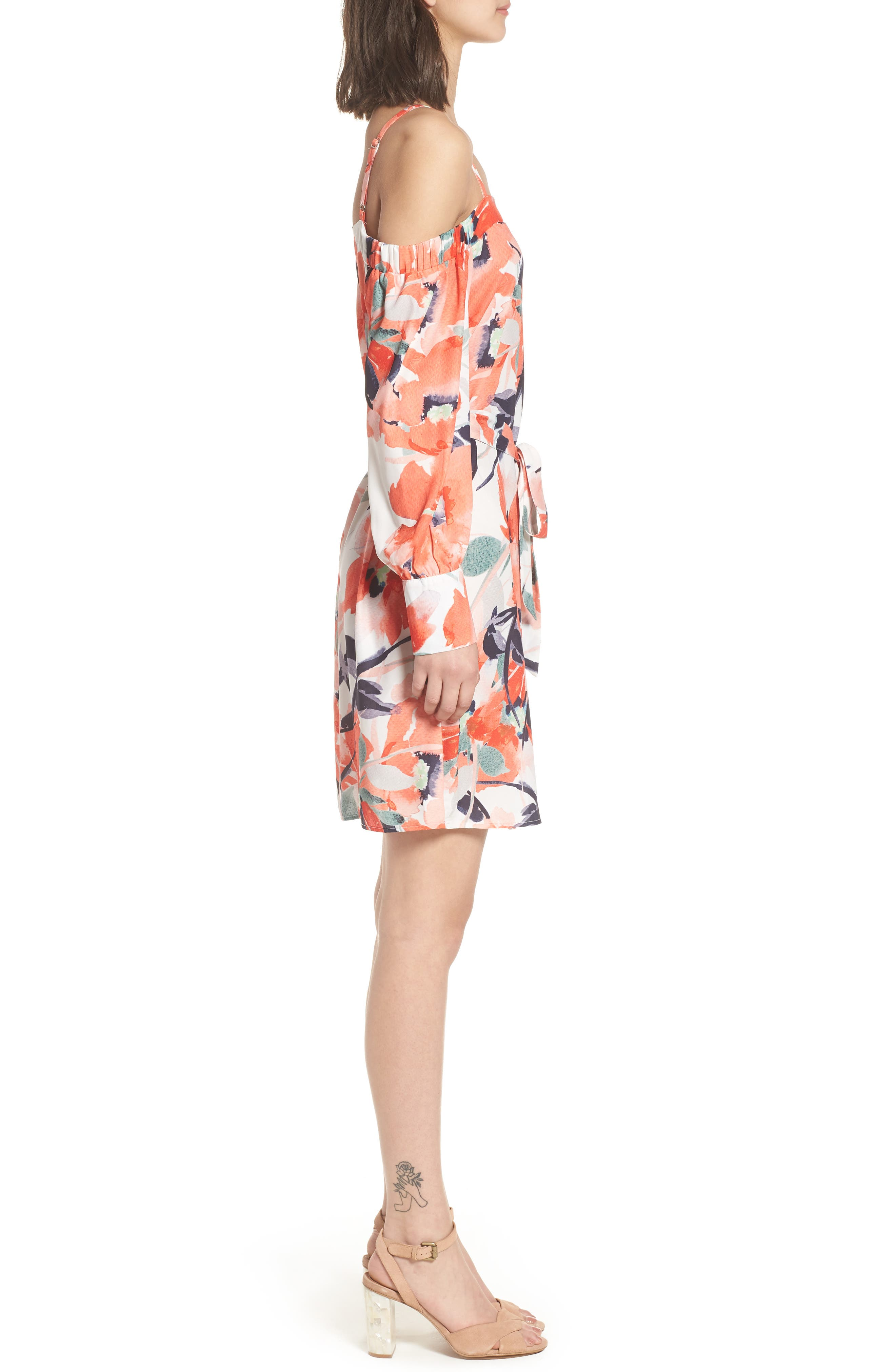 Bishop + Young Chrissy Cold Shoulder Dress,                             Alternate thumbnail 3, color,                             Print