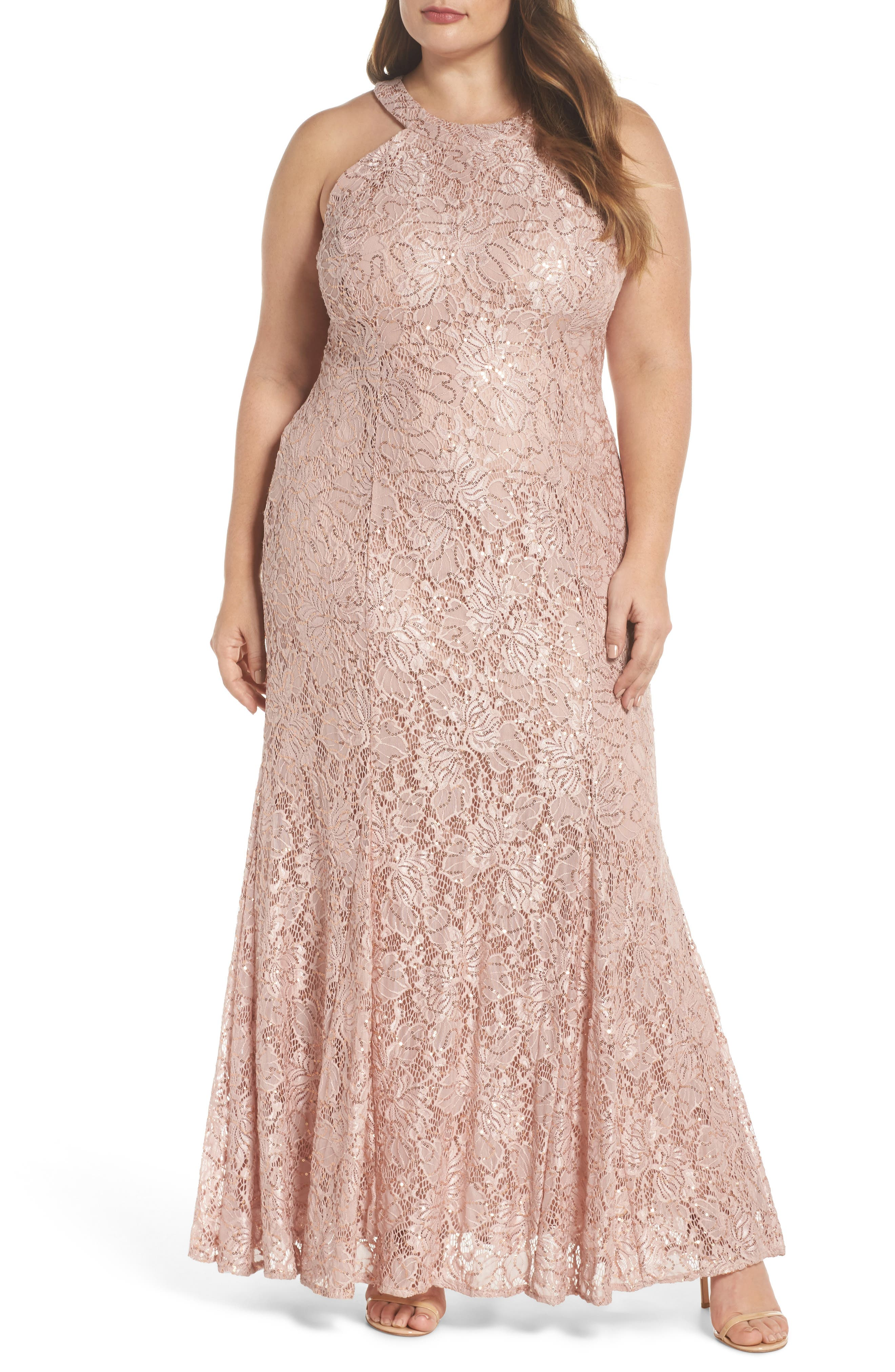 Sequin Lace Gown,                             Main thumbnail 1, color,                             Rose Gold