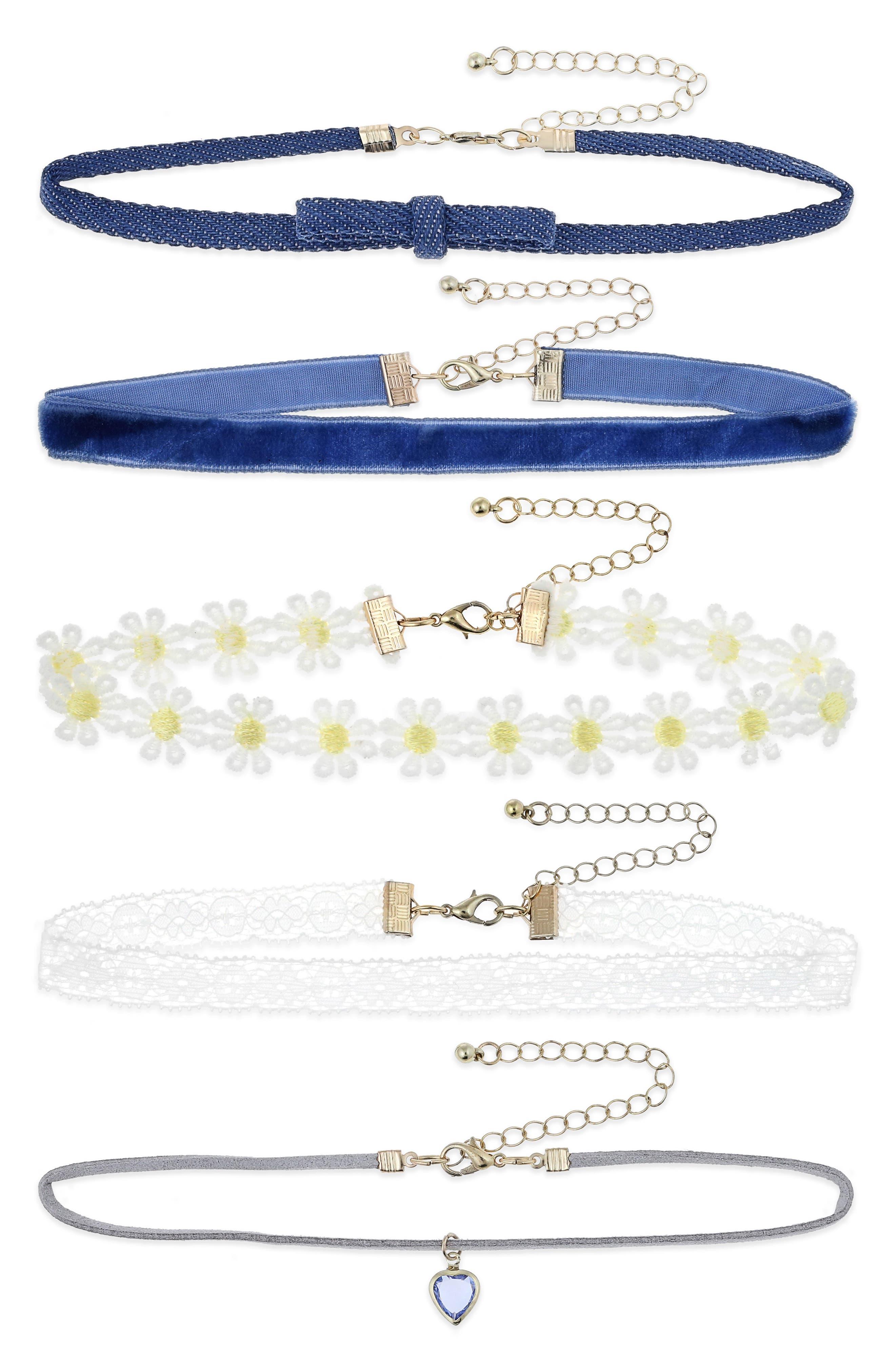 Set of 5 Chokers,                             Main thumbnail 1, color,                             Blue Combo