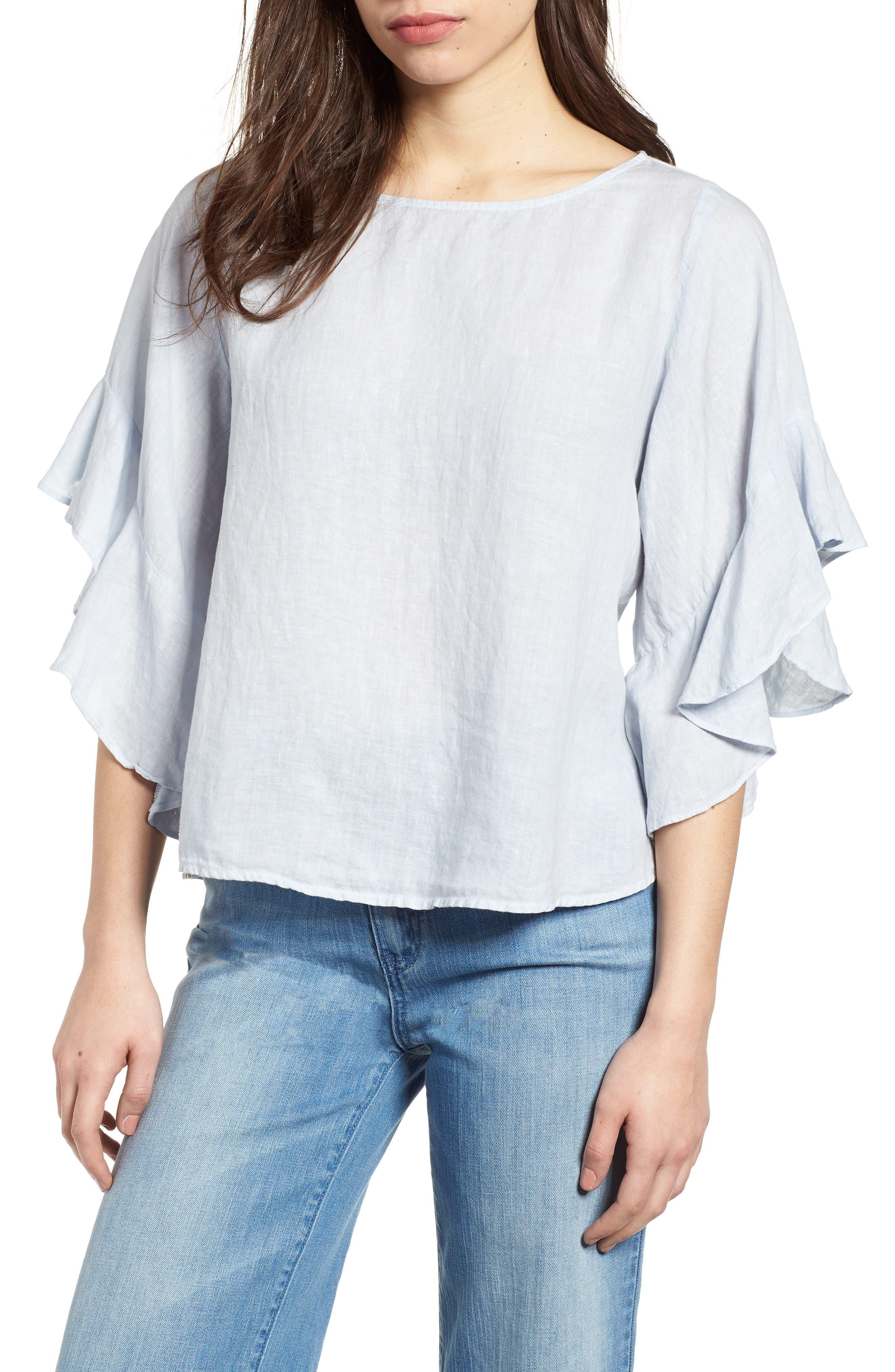 Ruffle Sleeve Linen Top,                         Main,                         color, Cloud