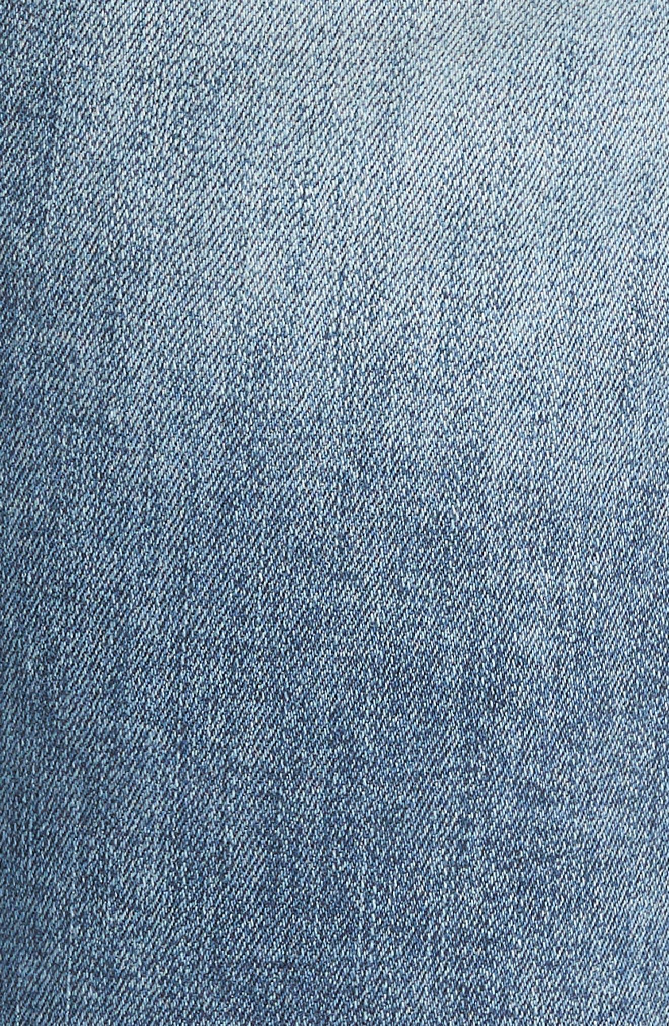 Ripped Denim Bermuda Shorts,                             Alternate thumbnail 5, color,                             Med Wash