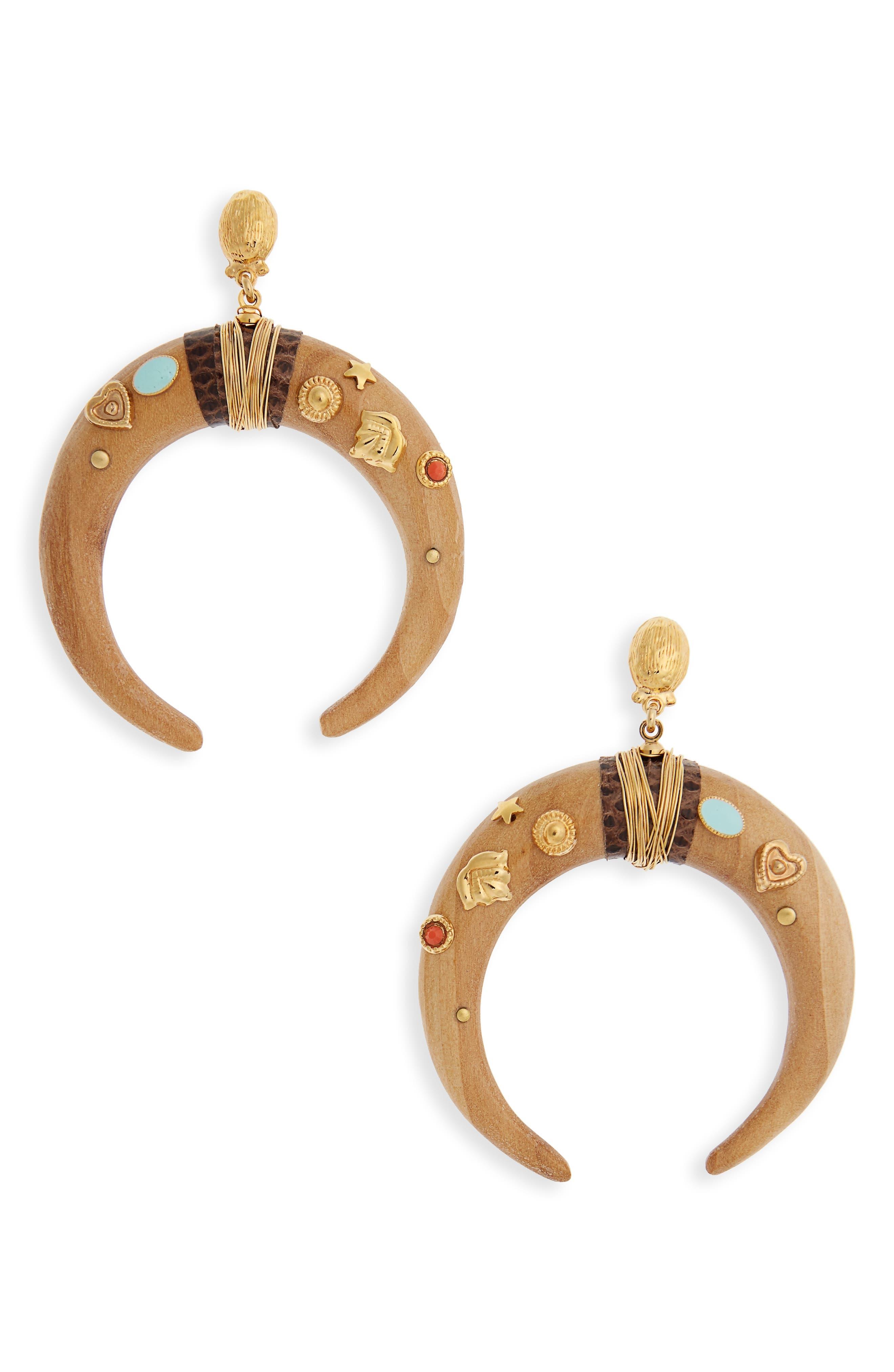 Juan Crescent Drop Earrings,                             Main thumbnail 1, color,                             Neutral