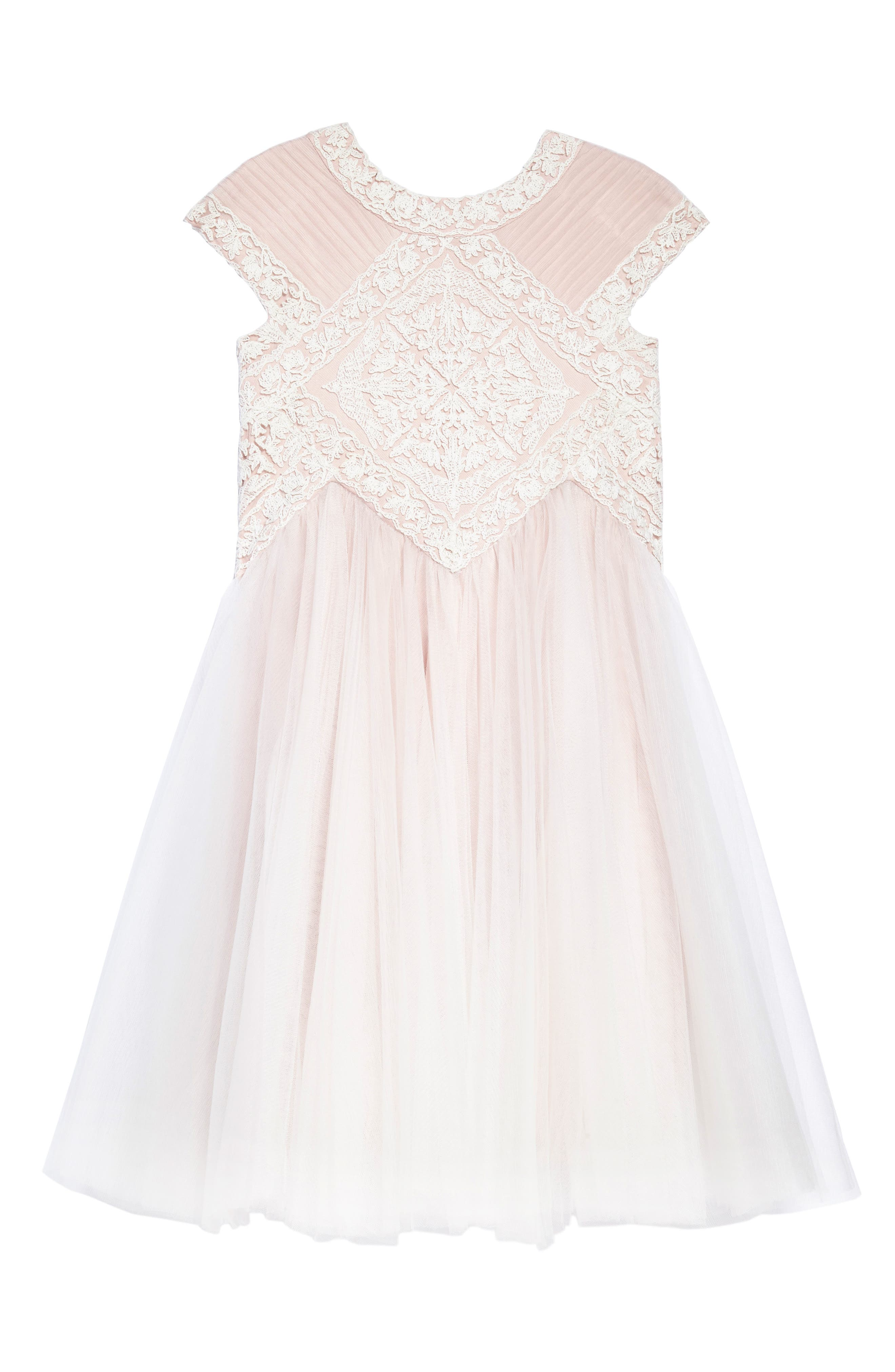 Lace Tulle Dress,                             Main thumbnail 1, color,                             Ivory/ Primrose