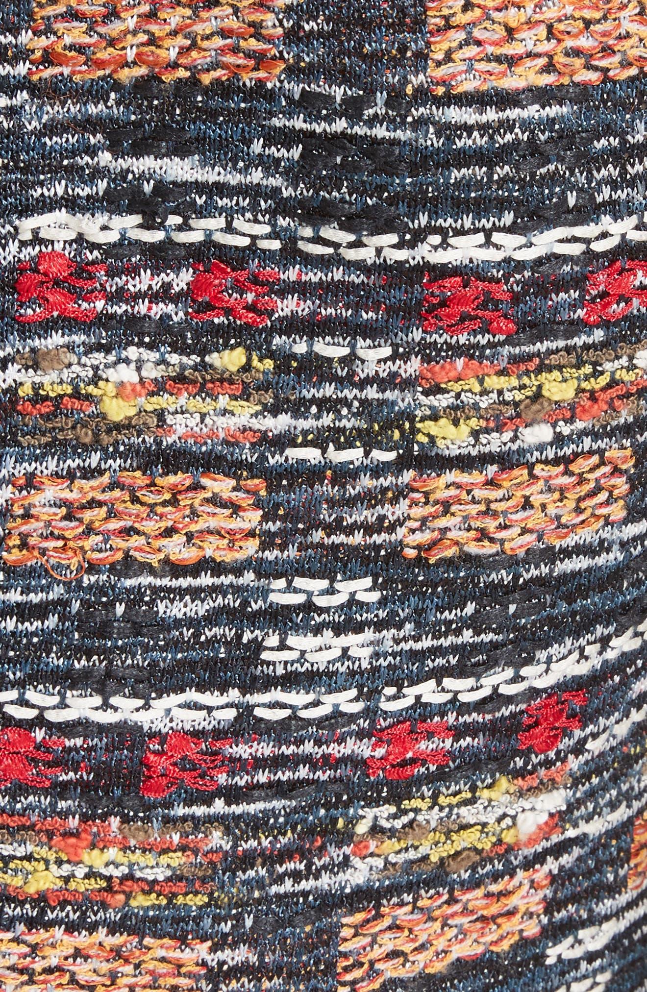 Painterly Tweed Knit Asymmetrical Dress,                             Alternate thumbnail 6, color,                             Caviar Multi