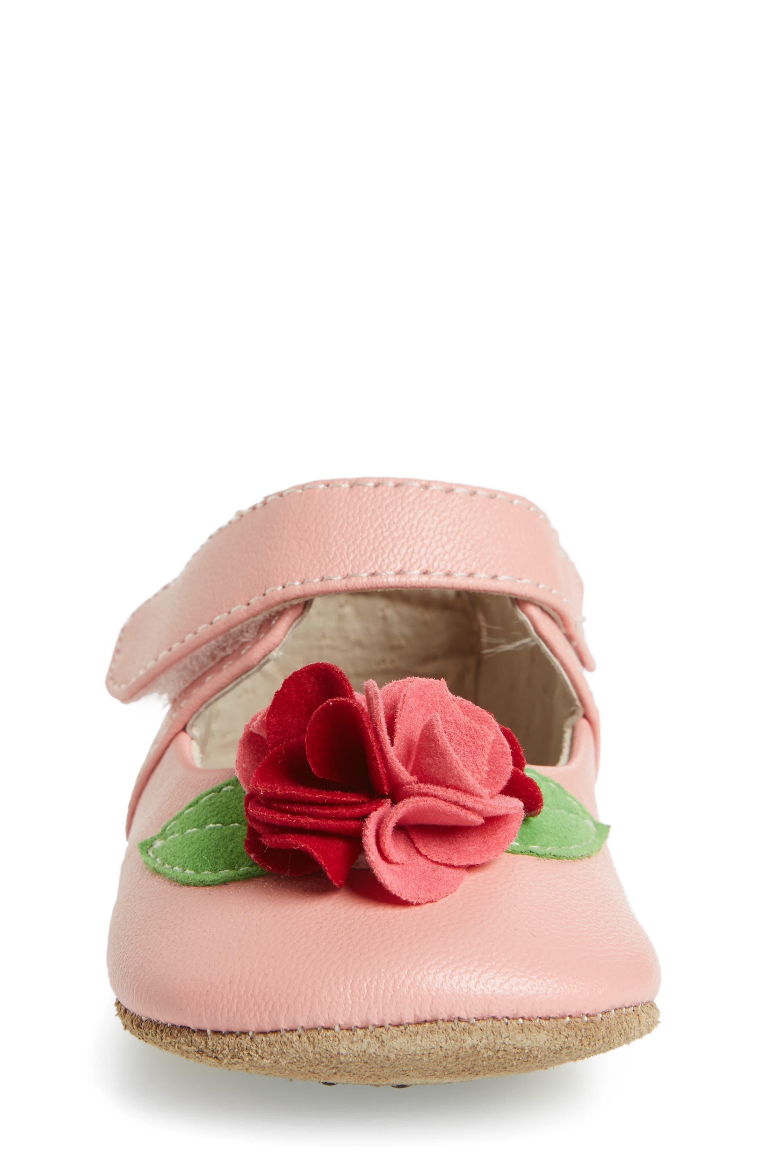 Rosa Mary Jane Crib Shoe,                             Alternate thumbnail 4, color,                             Light Pink