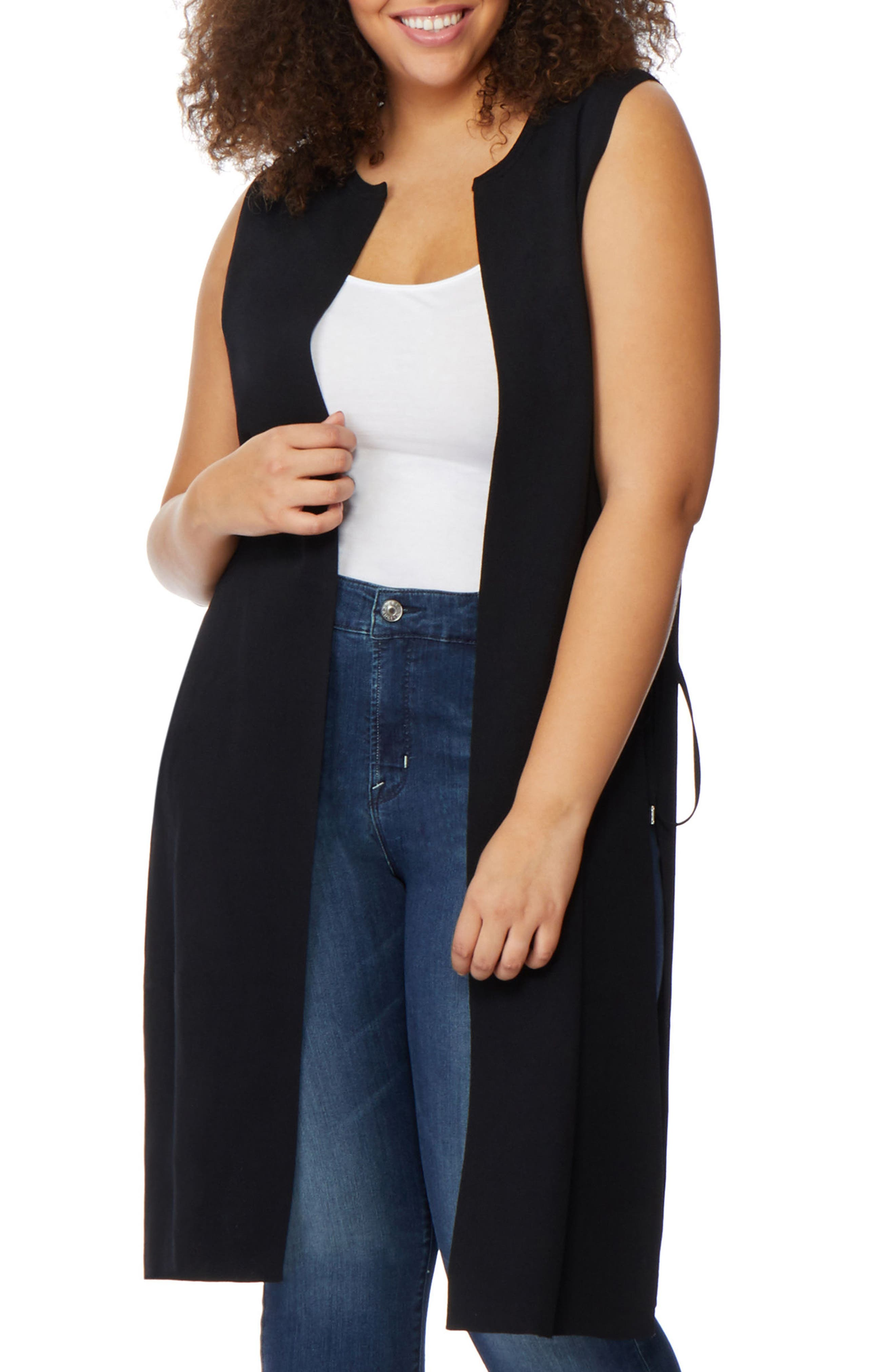 Side Lace-Up Knit Duster,                             Main thumbnail 1, color,                             Black