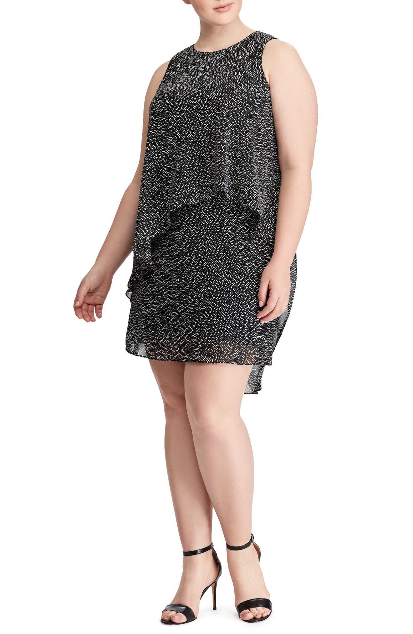 Dot Print Layered Georgette Dress,                             Main thumbnail 1, color,                             Black-Colonial Cream