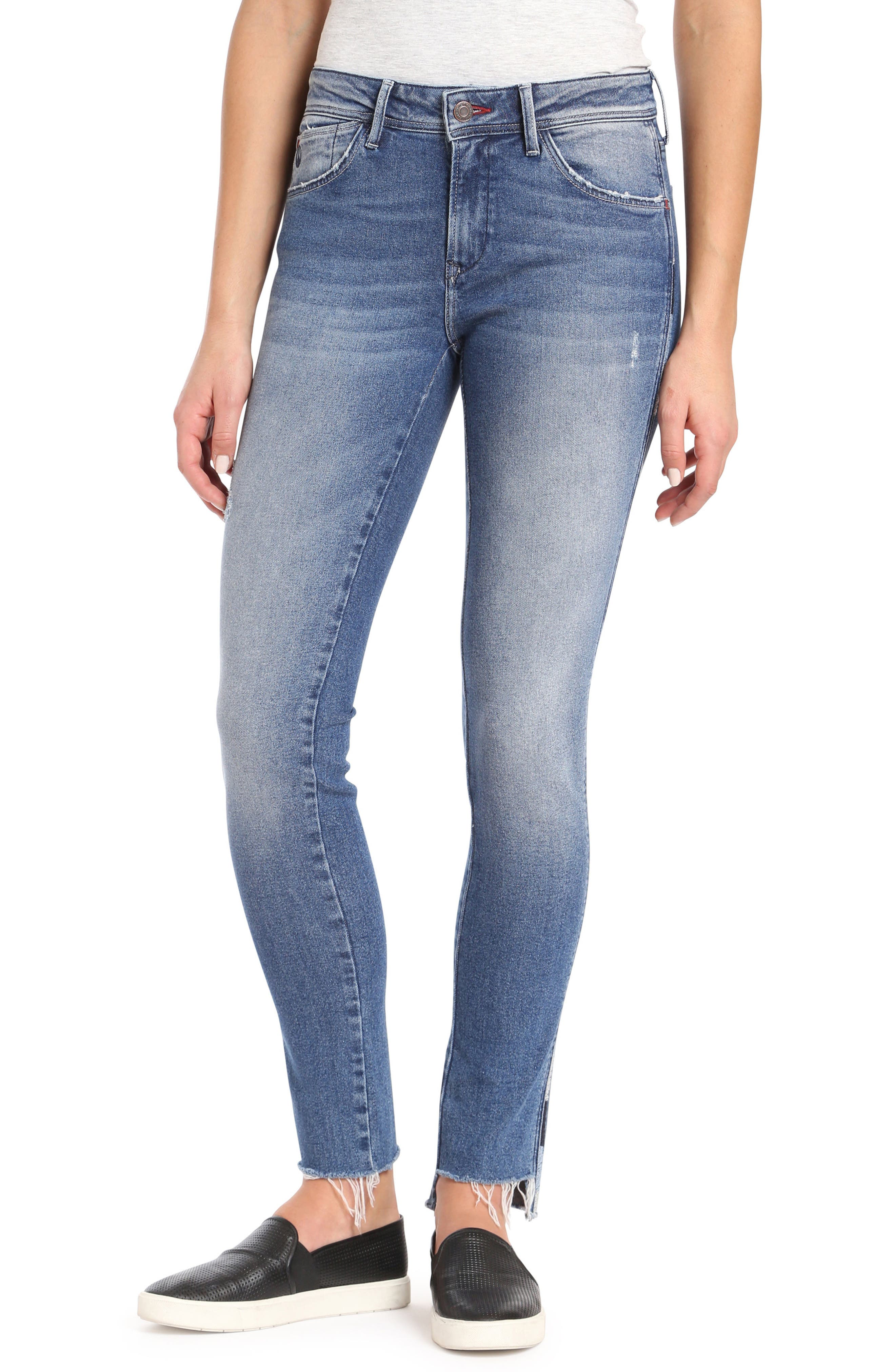 Adriana Contrast Side Stripe Skinny Jeans,                             Main thumbnail 1, color,                             Mid Cheeky