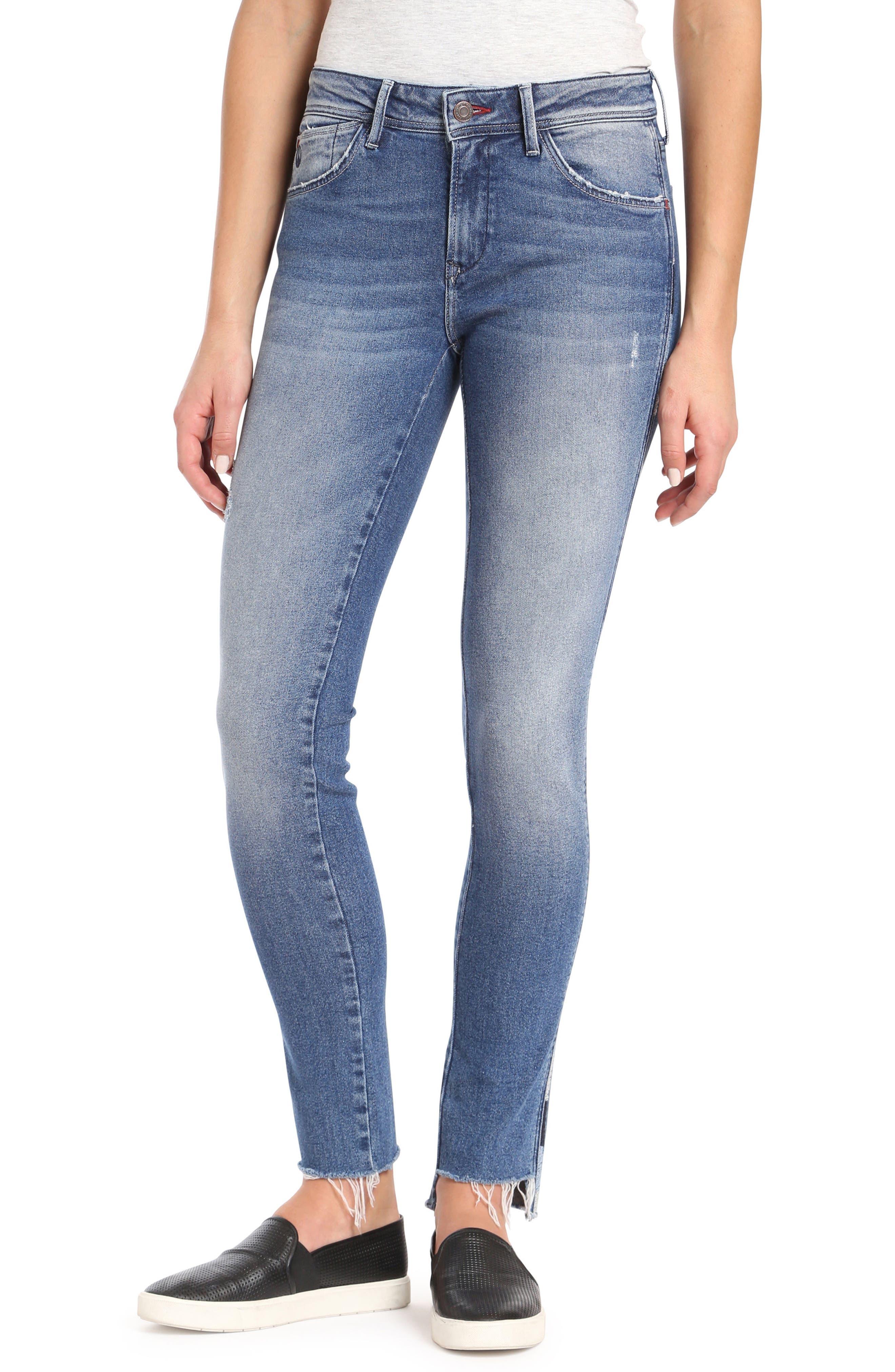 Adriana Contrast Side Stripe Skinny Jeans,                         Main,                         color, Mid Cheeky