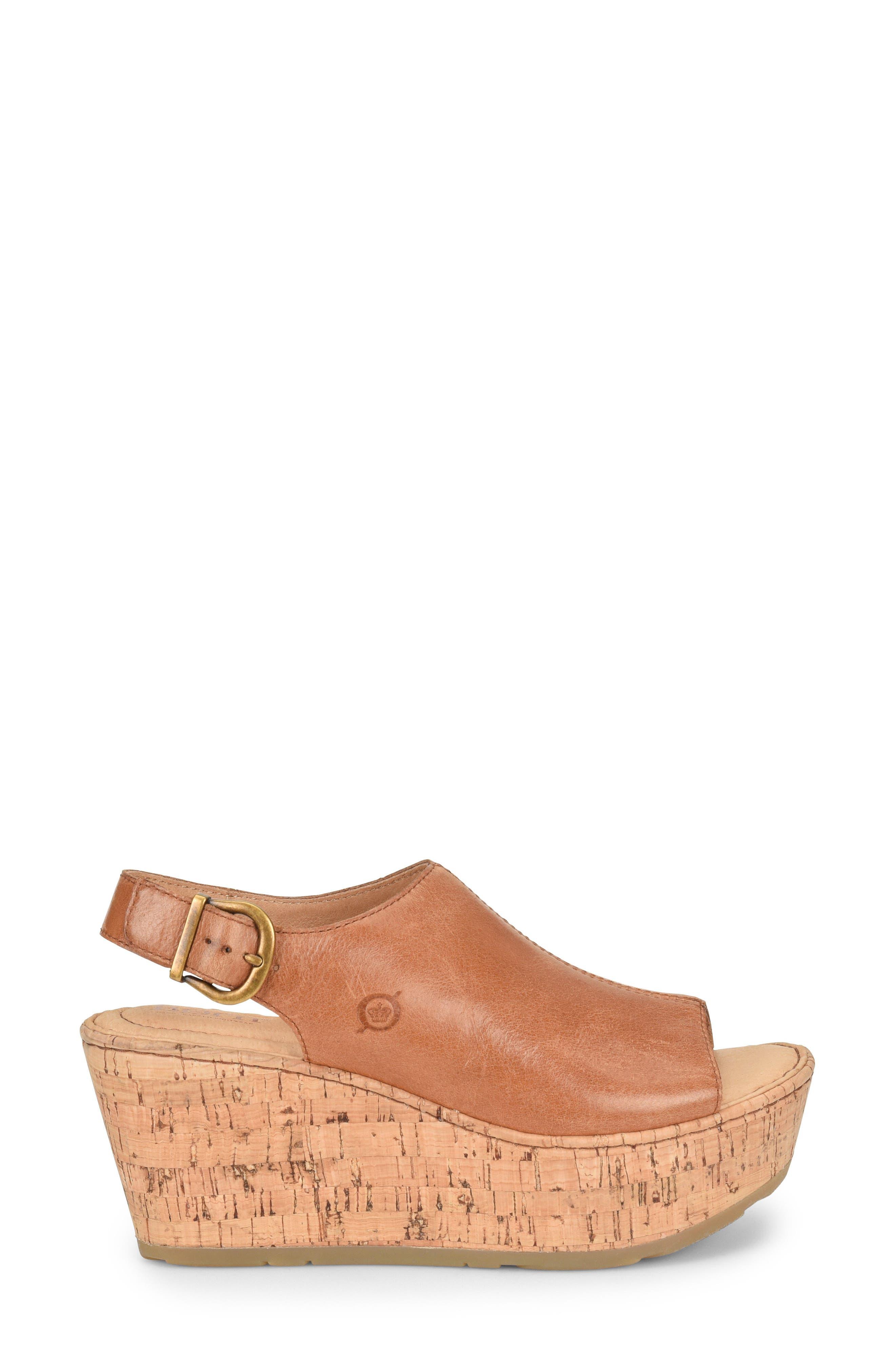 Orbit Platform Wedge Sandal,                             Alternate thumbnail 3, color,                             Brown Leather