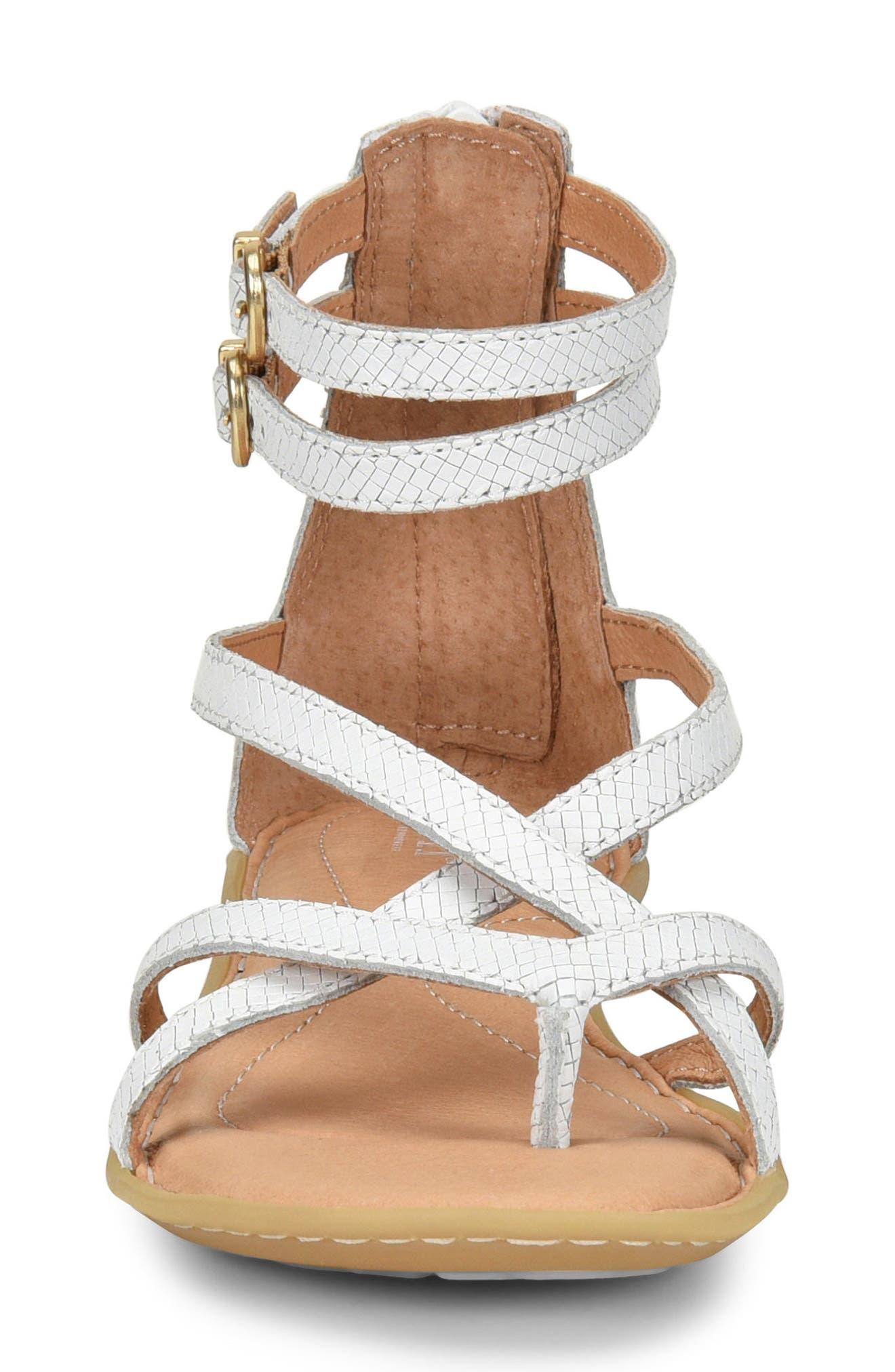 Mai Gladiator Sandal,                             Alternate thumbnail 4, color,                             White Leather