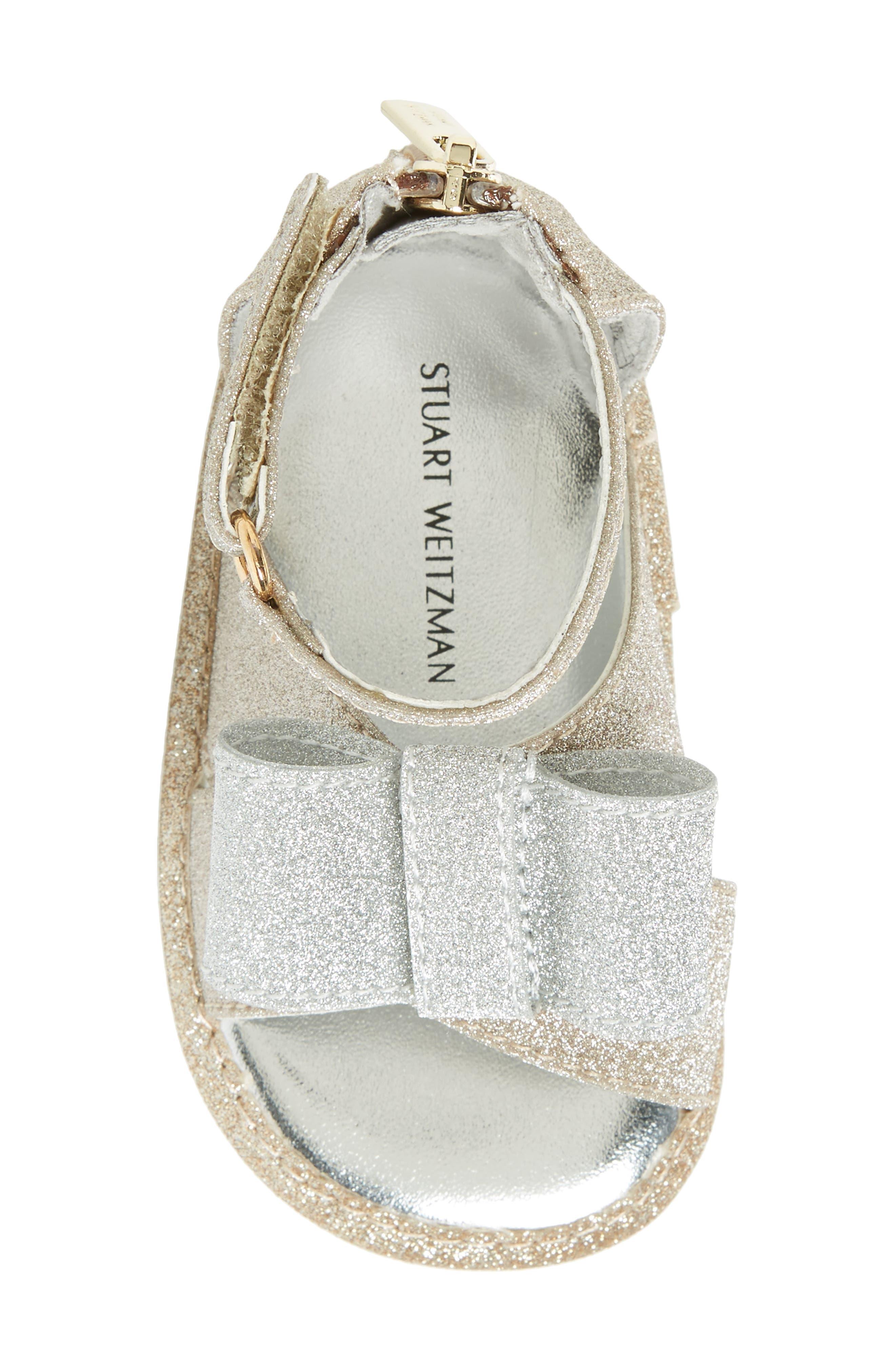 Selina Glitter Crib Shoe Sandal,                             Alternate thumbnail 5, color,                             Gold/ Silver