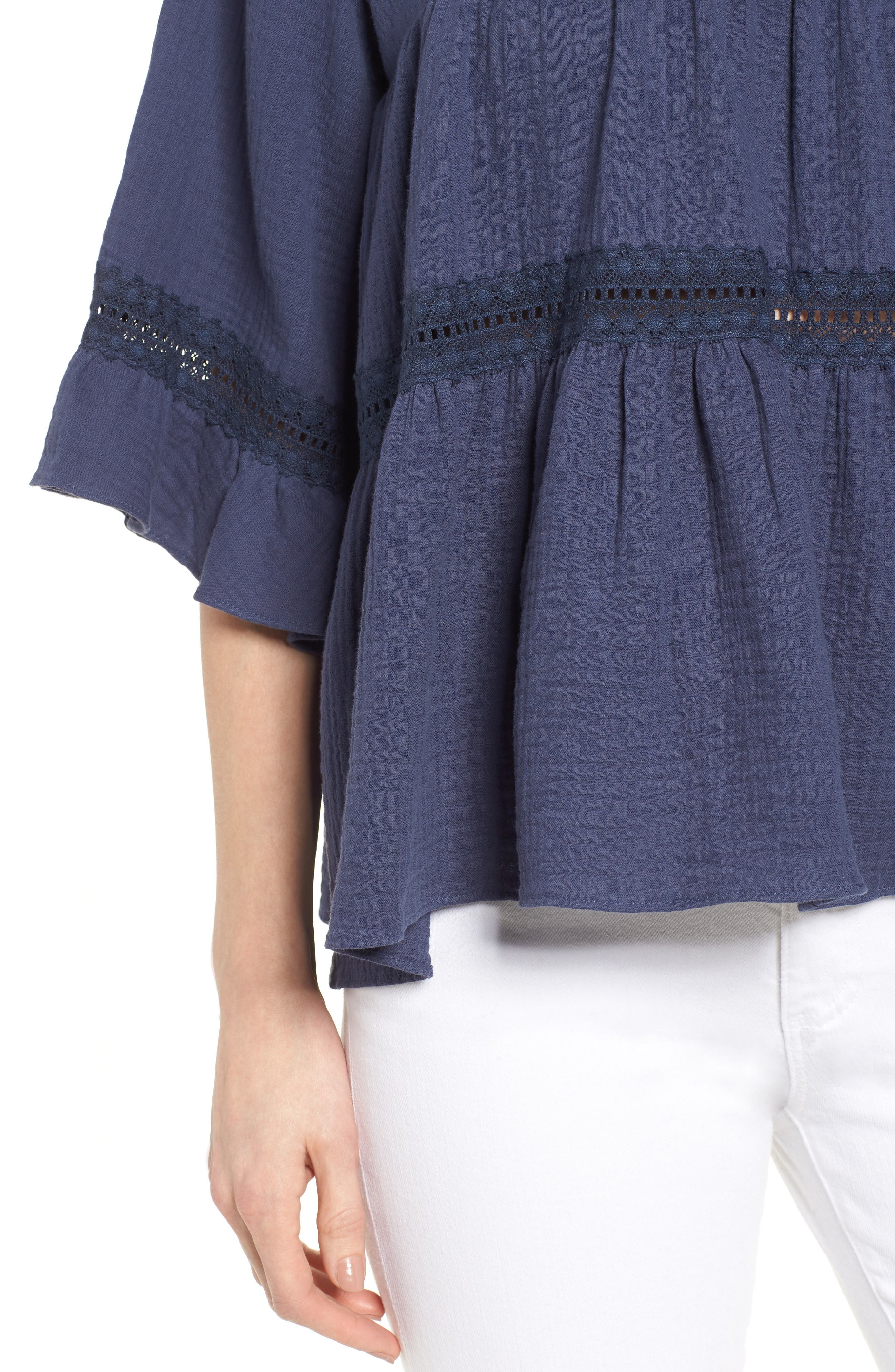 Lace Trim Blouse,                             Alternate thumbnail 4, color,                             Navy Indigo