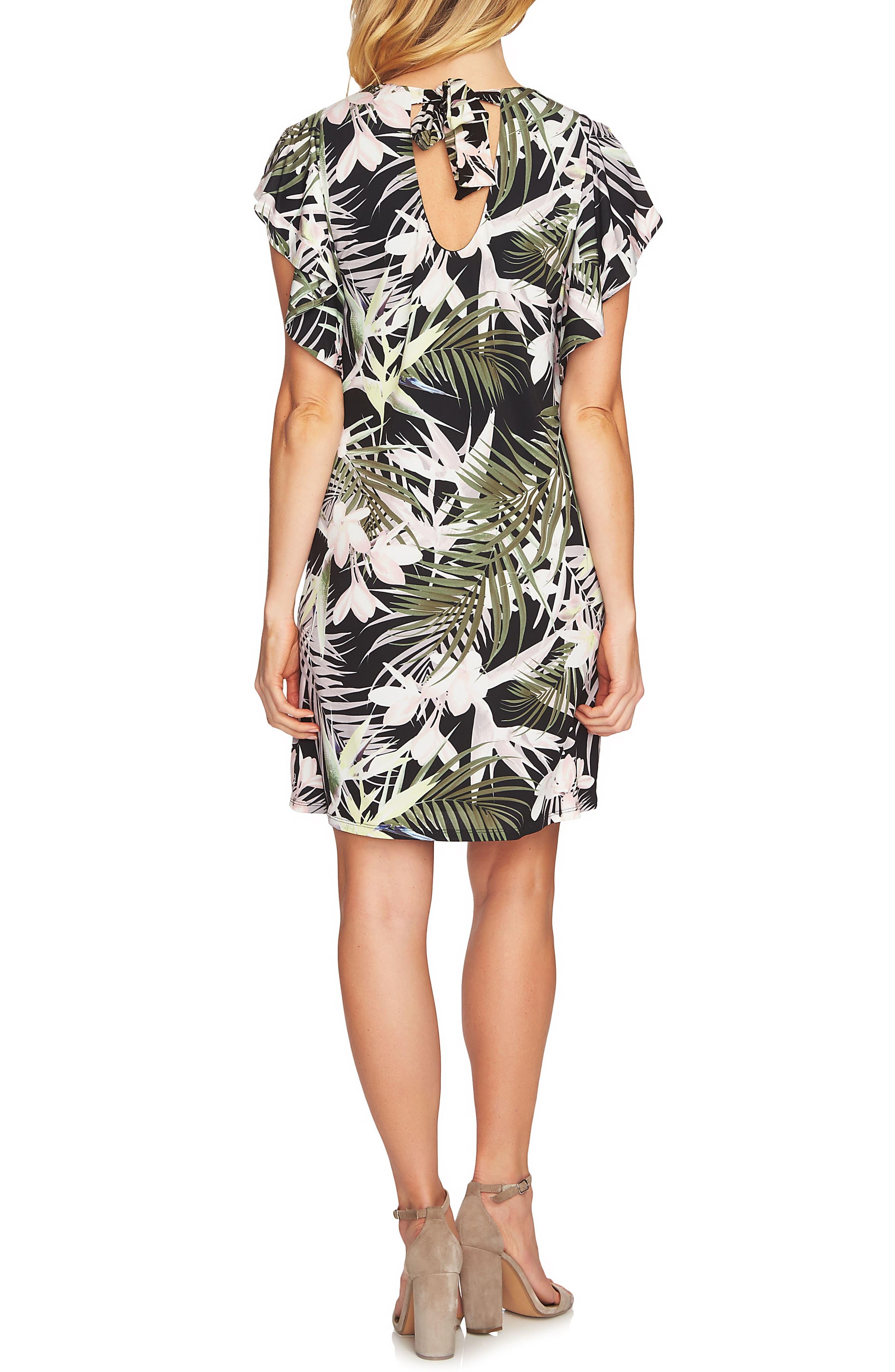 Soft Palms Flutter Sleeve Dress,                             Alternate thumbnail 2, color,                             Rich Black