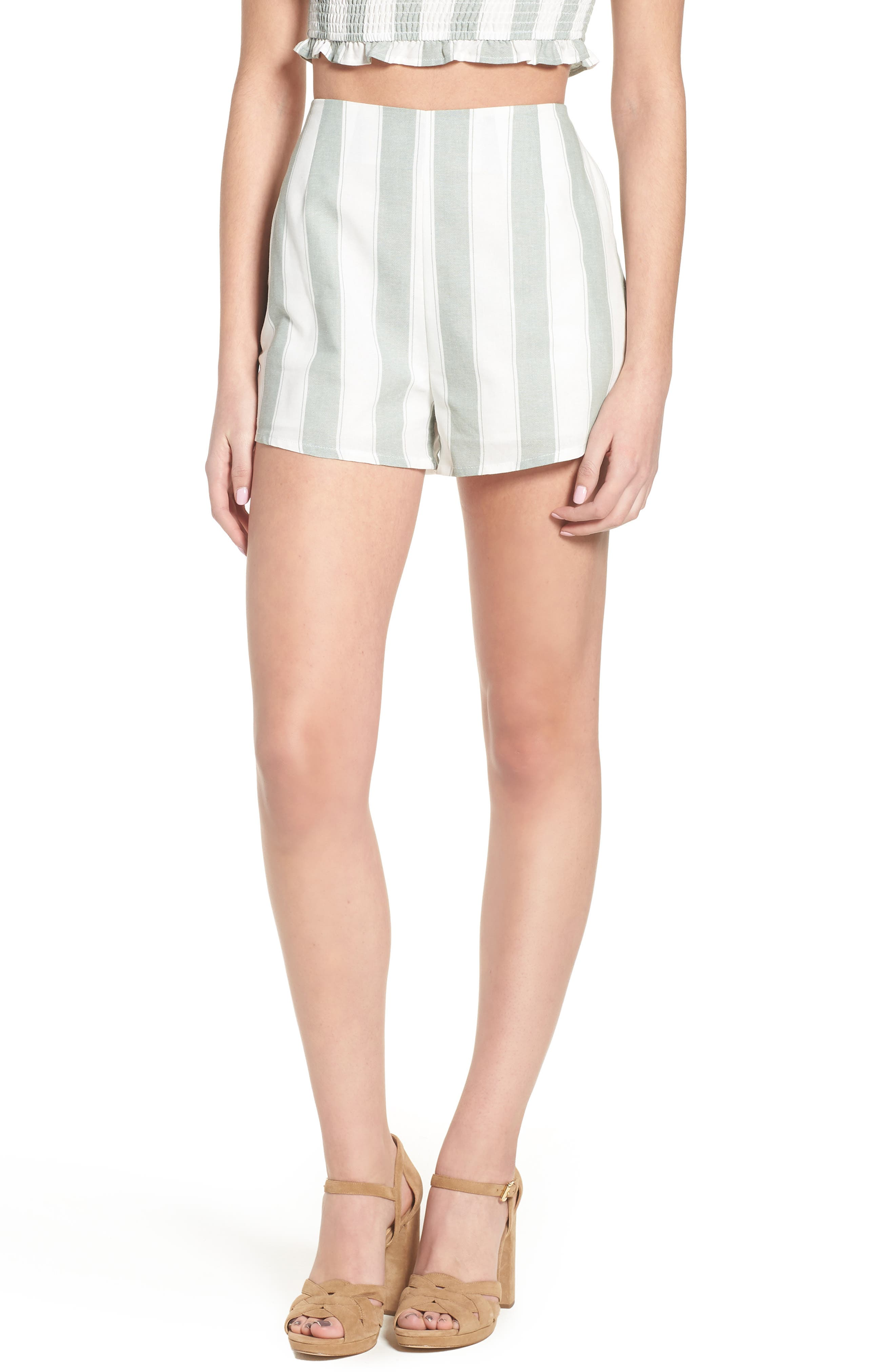 Poetic Stripe Shorts,                         Main,                         color, Sage W White
