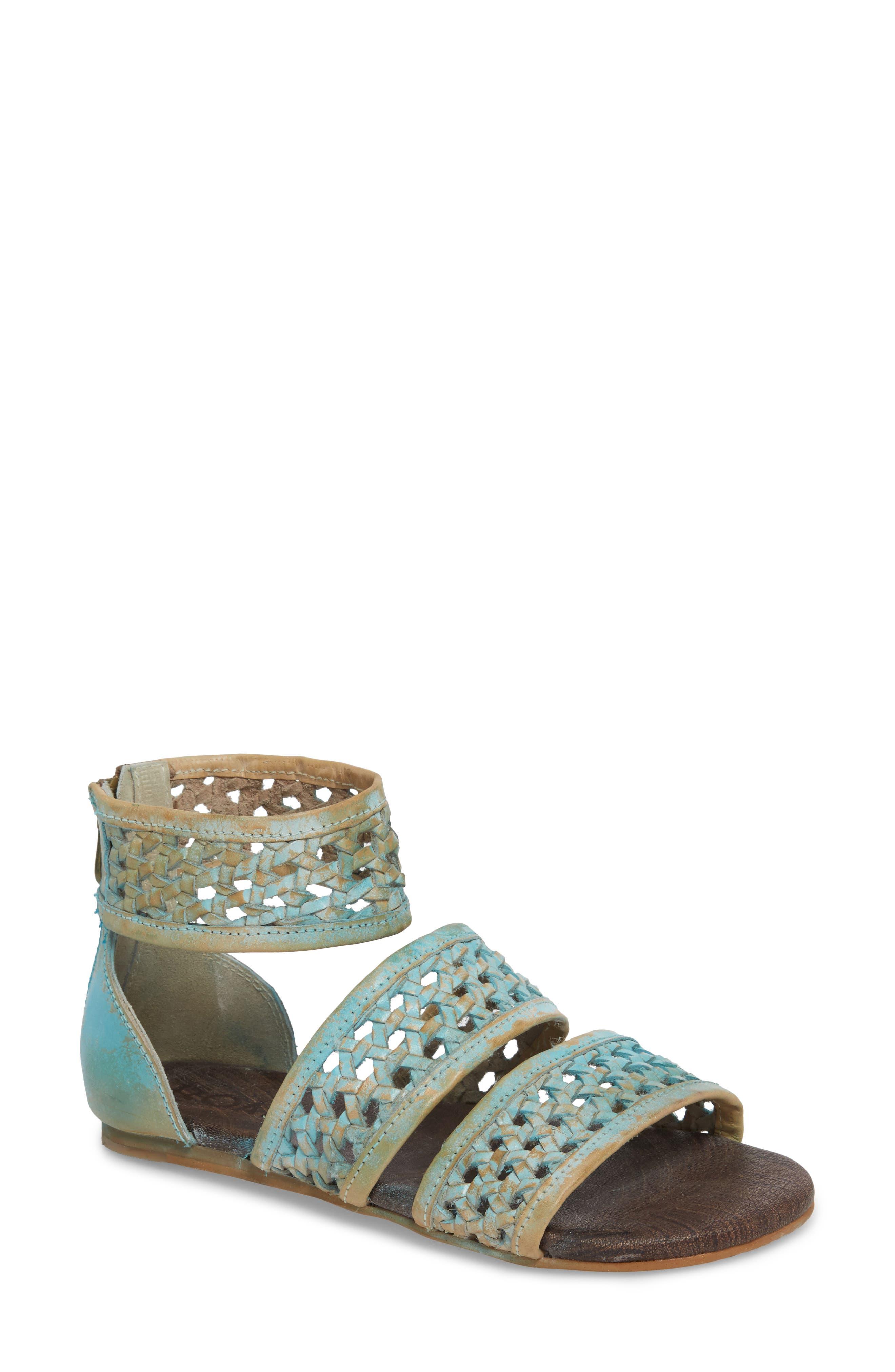 Clio Woven Ankle Cuff Sandal,                             Main thumbnail 1, color,                             Blue