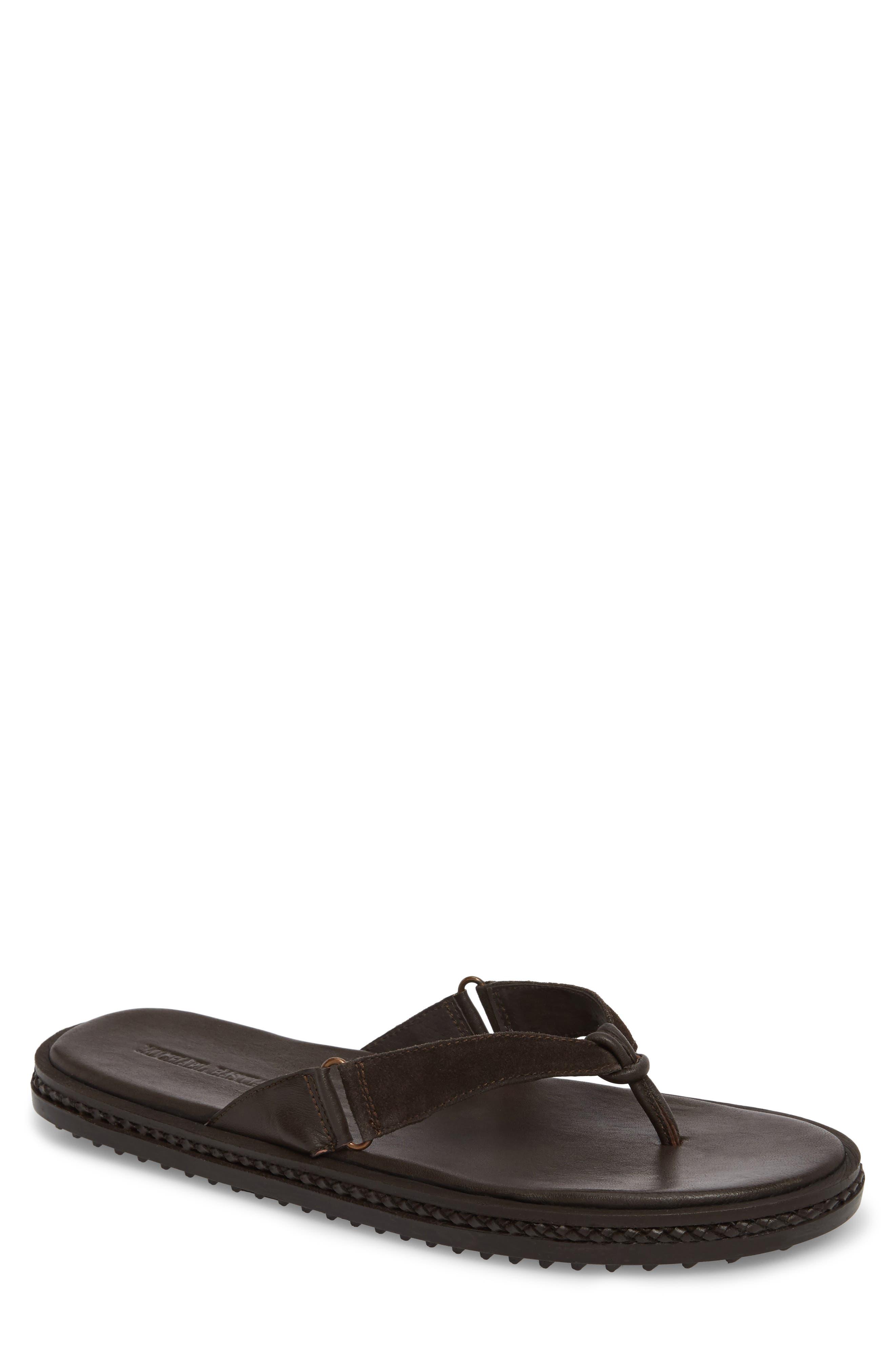 Michael Bastain Flip Flop,                         Main,                         color, Brown Leather