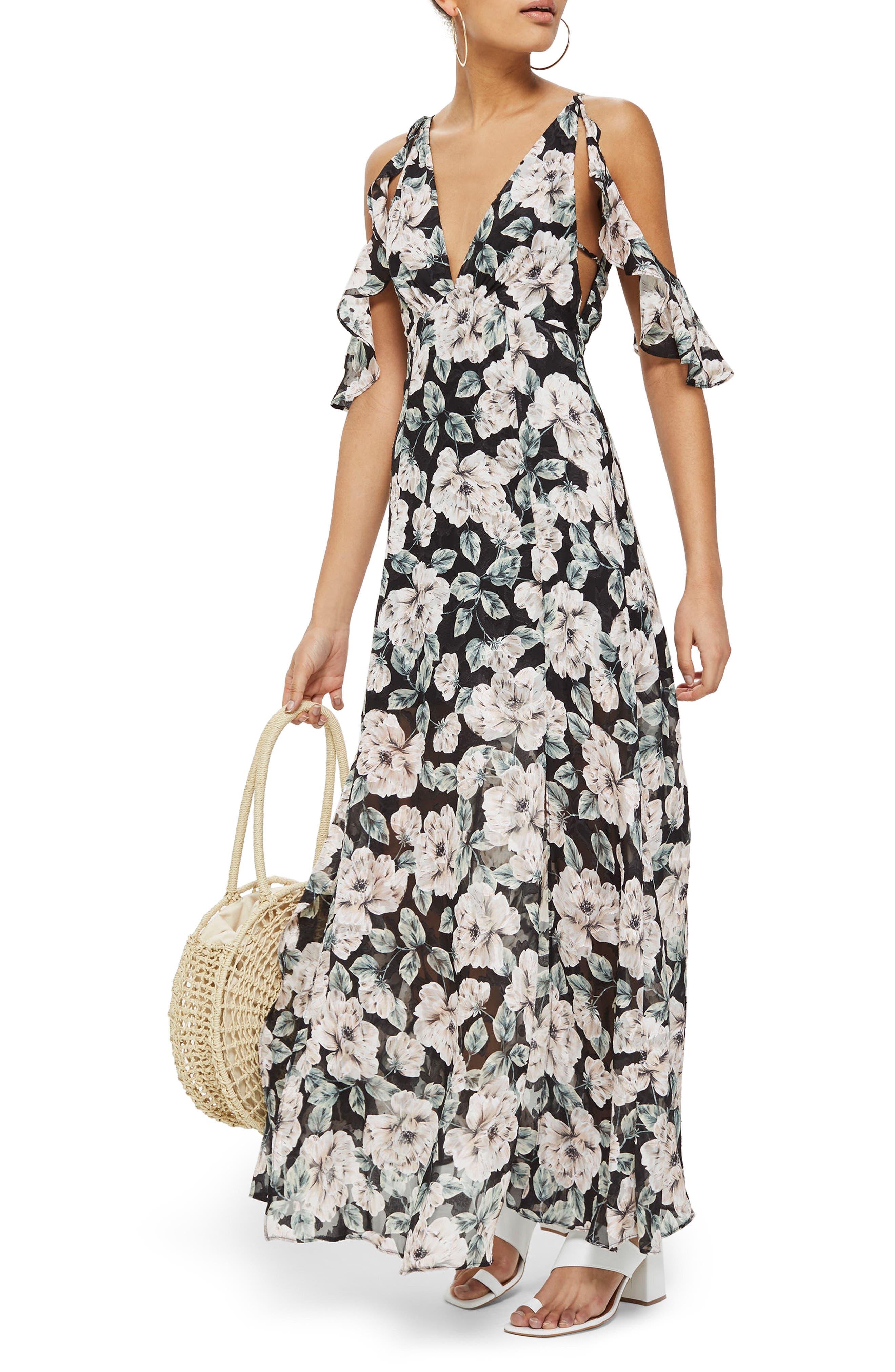 Devoré Floral Cold Shoulder Dress,                         Main,                         color, Black Multi