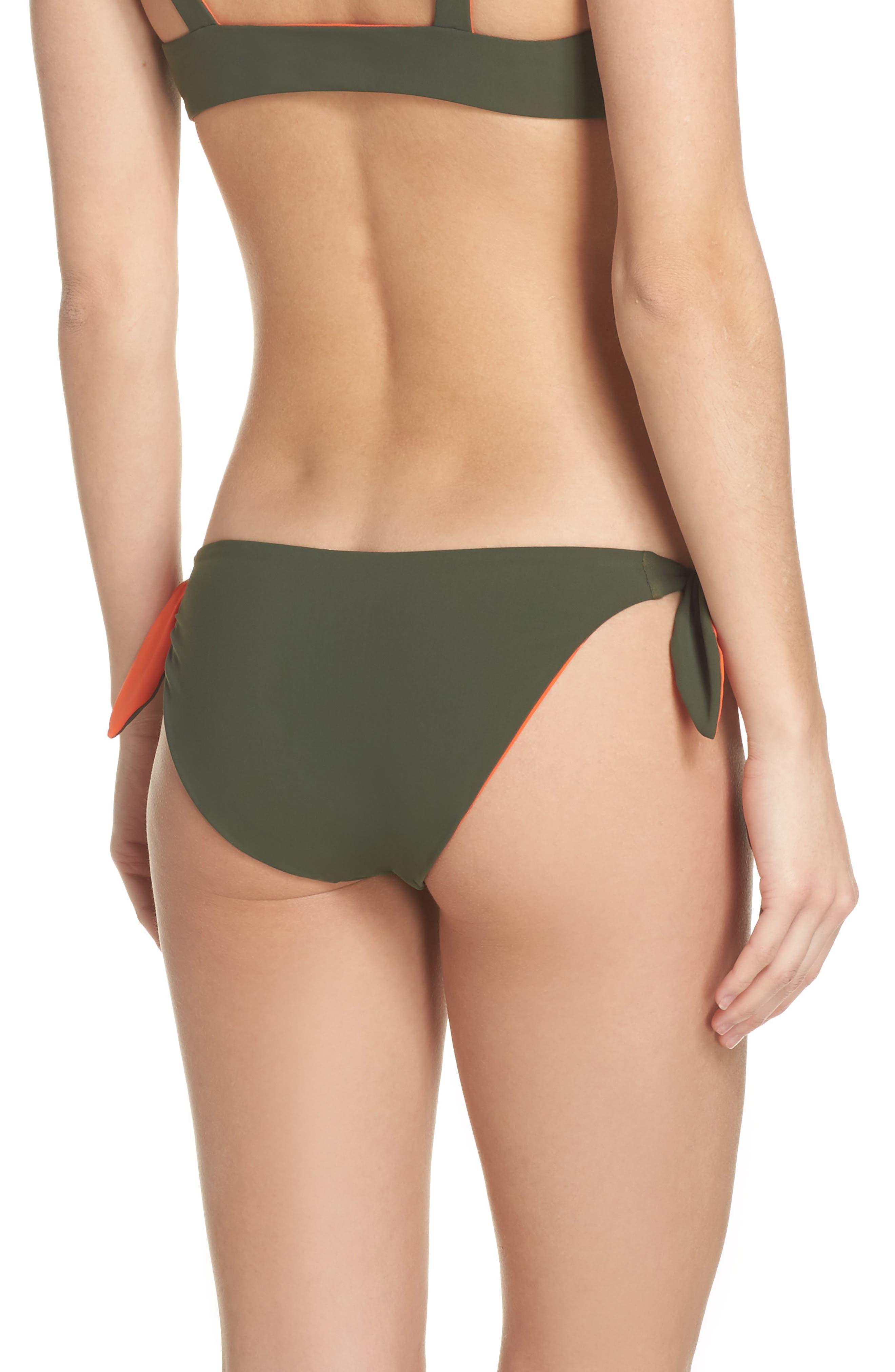 Biarritz Reversible Bikini Bottoms,                             Alternate thumbnail 3, color,                             Green Olive/ Sweet Tangerine