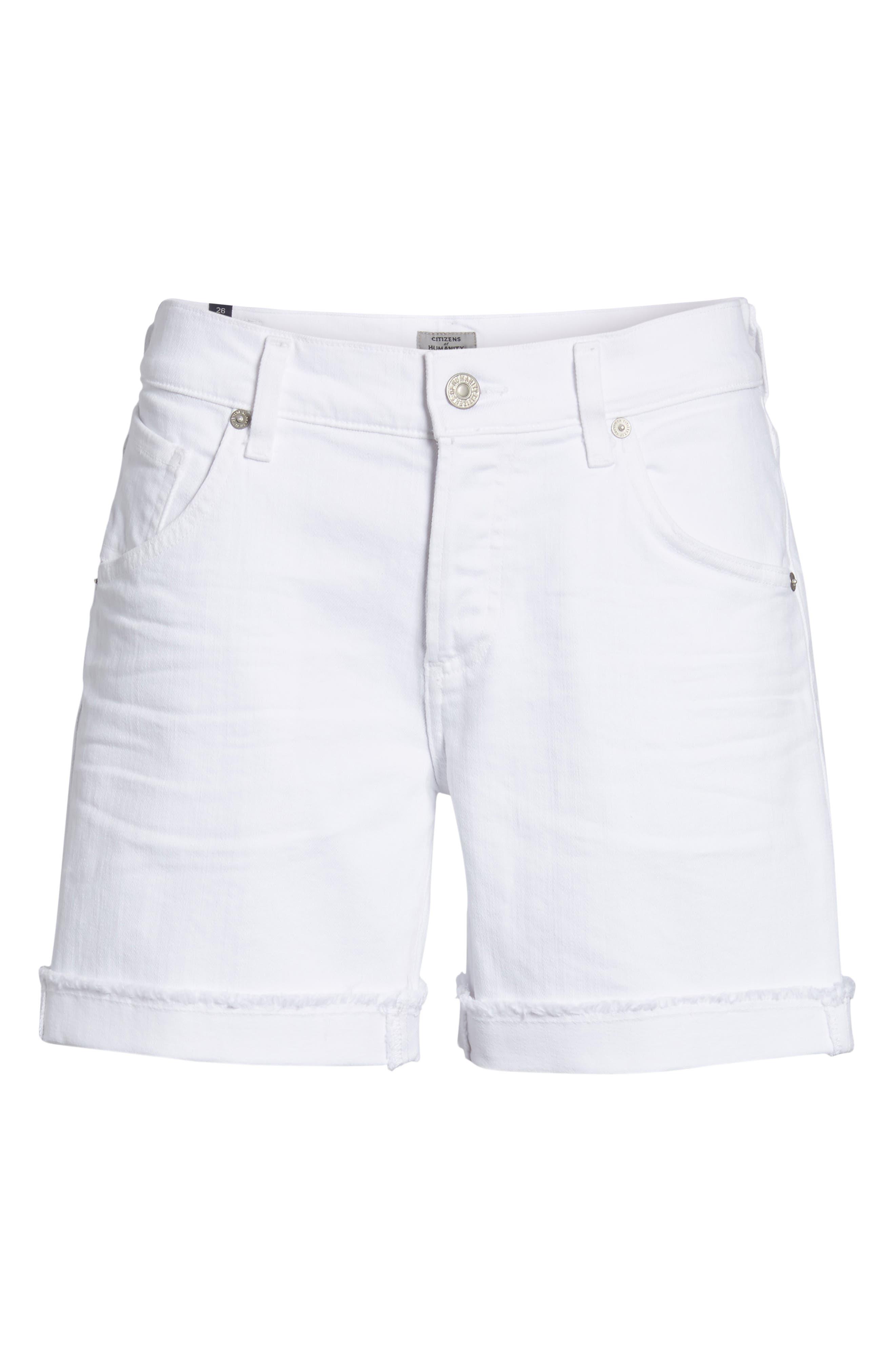 Skyler Denim Shorts,                             Alternate thumbnail 7, color,                             Optic White