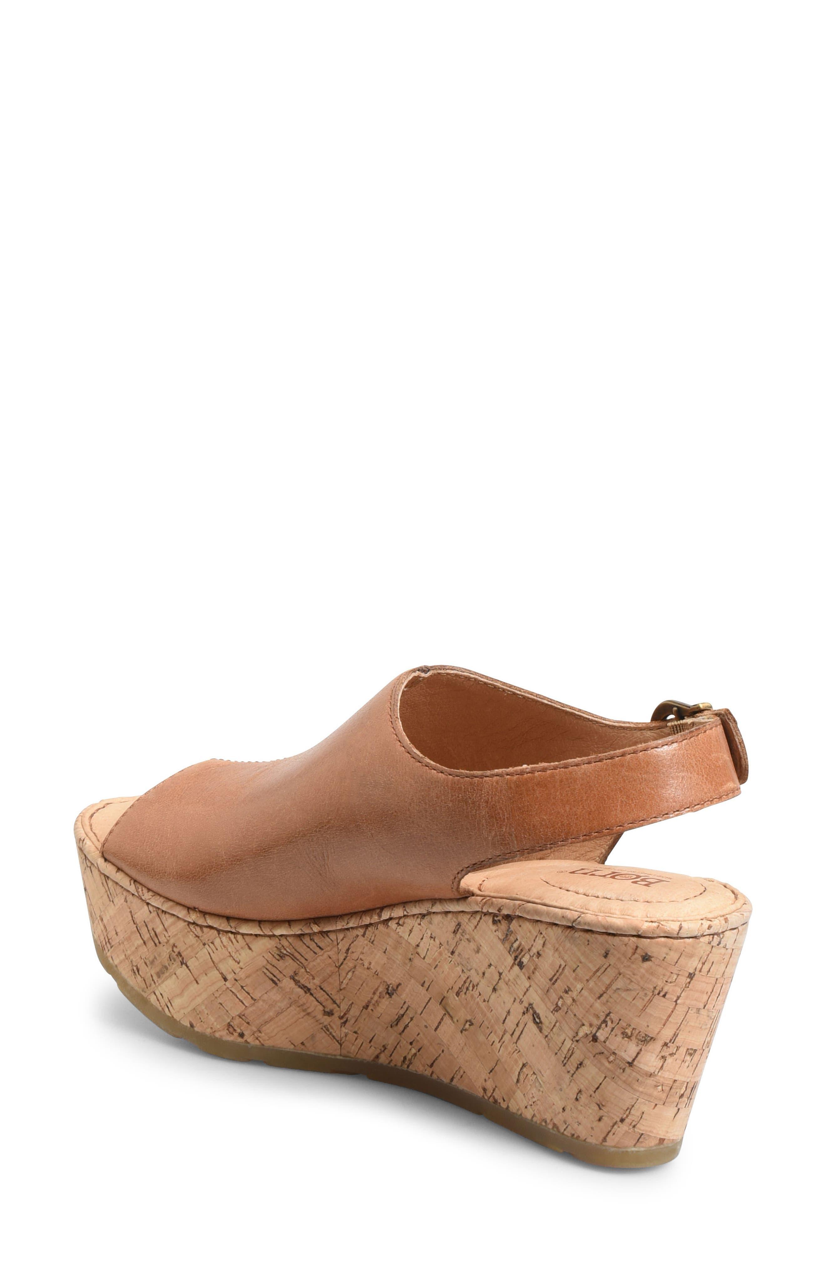 Orbit Platform Wedge Sandal,                             Alternate thumbnail 2, color,                             Brown Leather