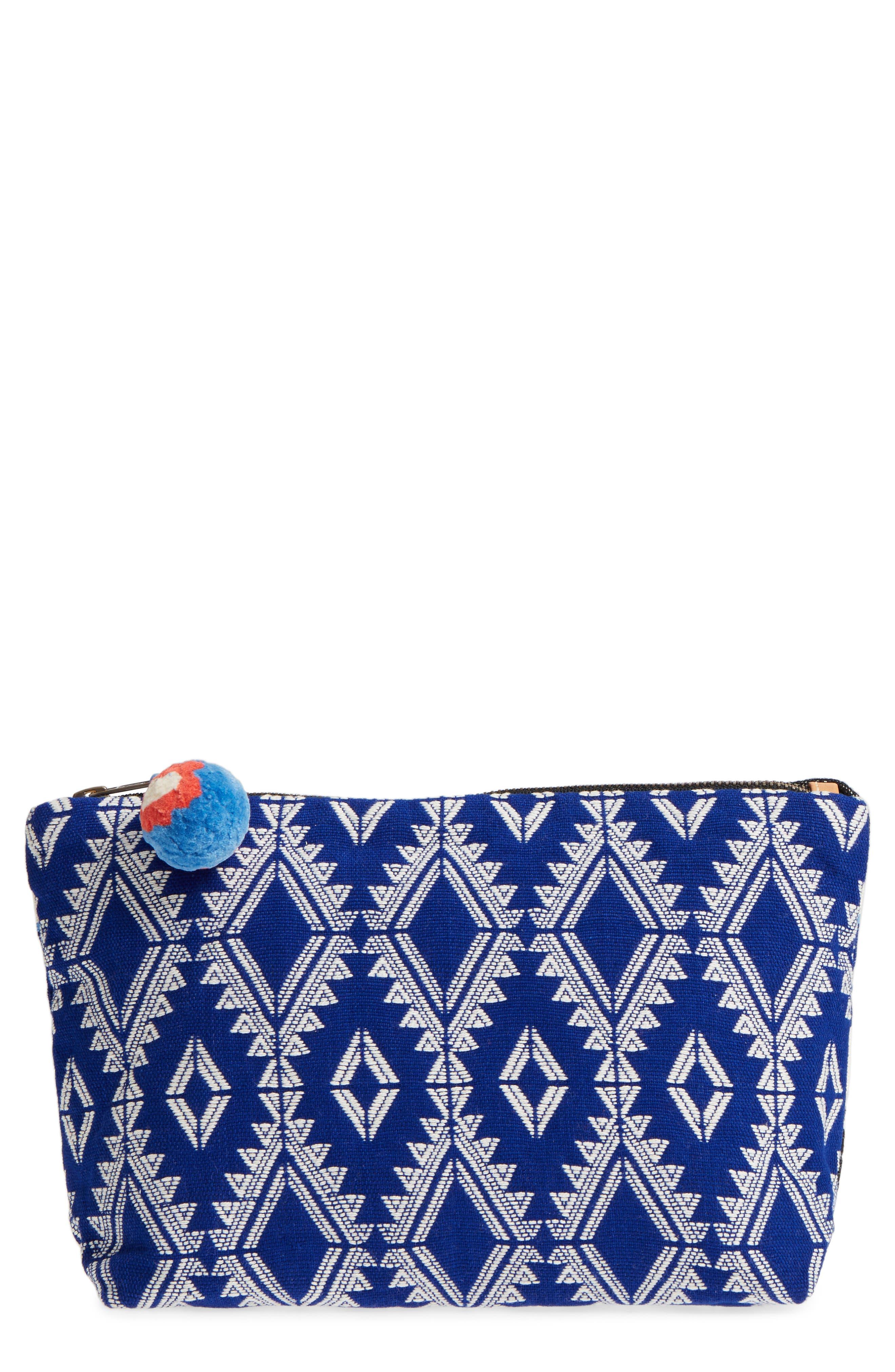 Cristina Canvas Travel Pouch,                         Main,                         color, Ultramarine Brocade
