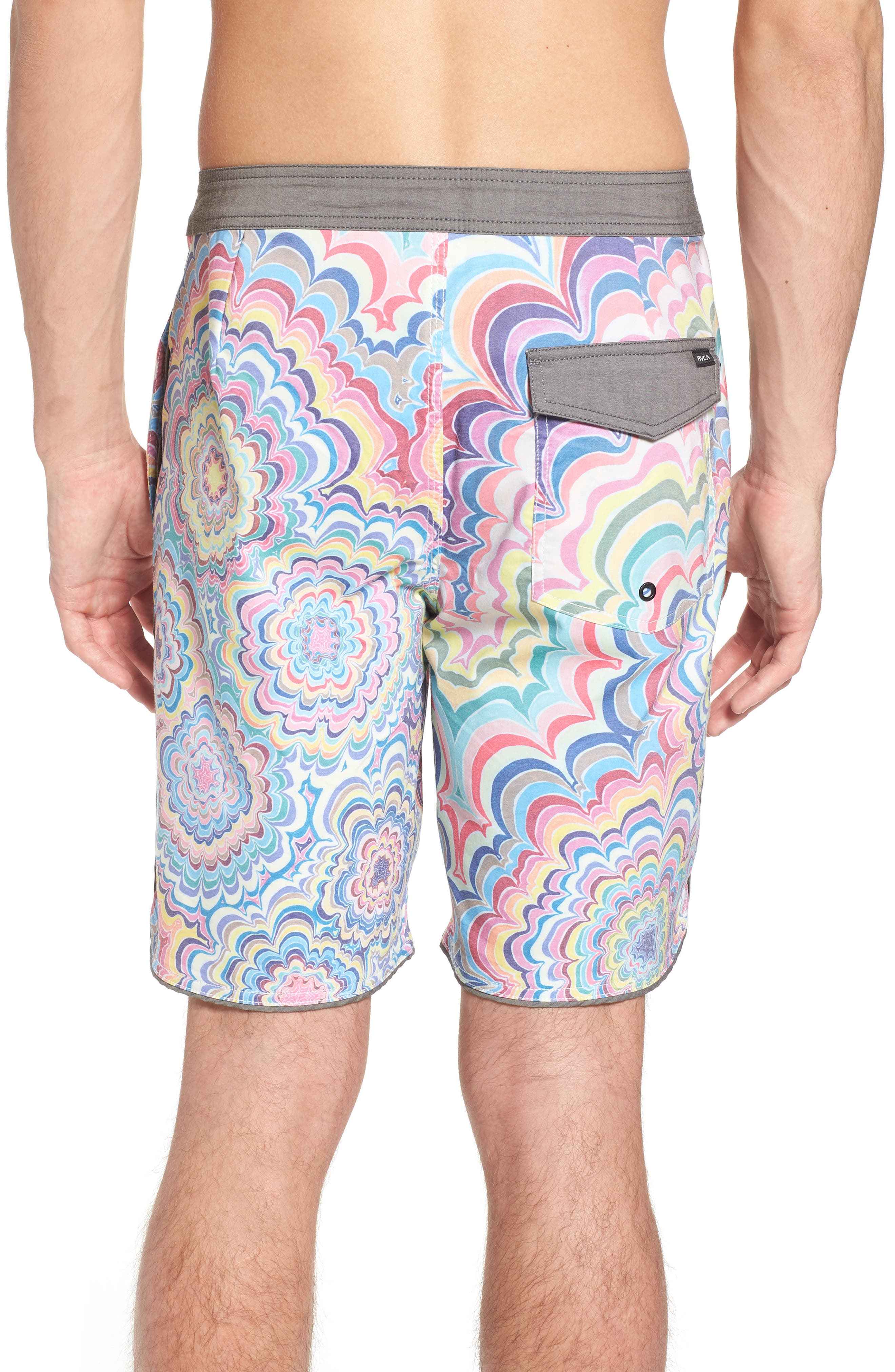 Kelsey Psych Swim Trunks,                             Alternate thumbnail 2, color,                             Coral