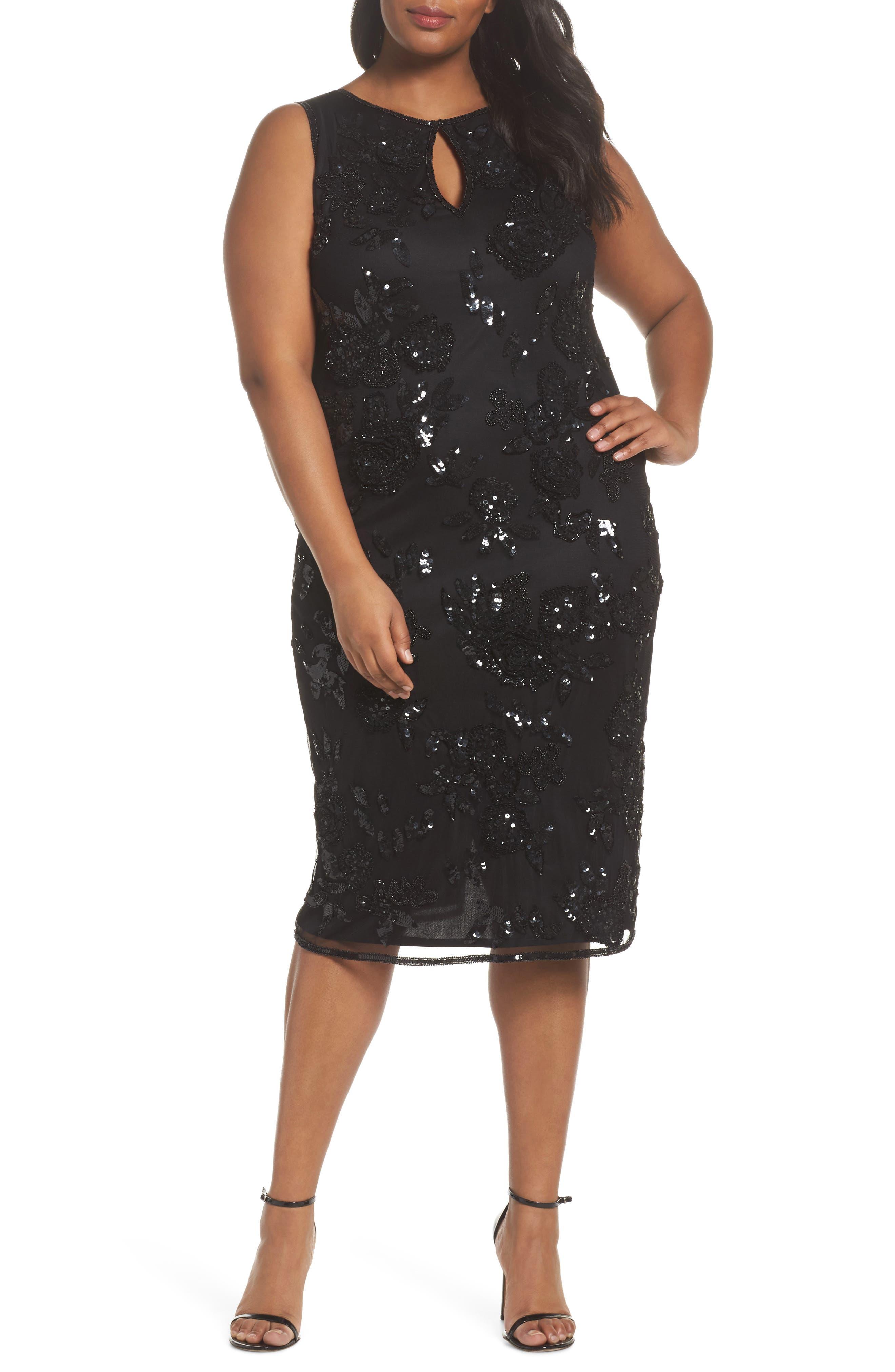 Embellished Keyhole Sheath Dress,                             Main thumbnail 1, color,                             Black