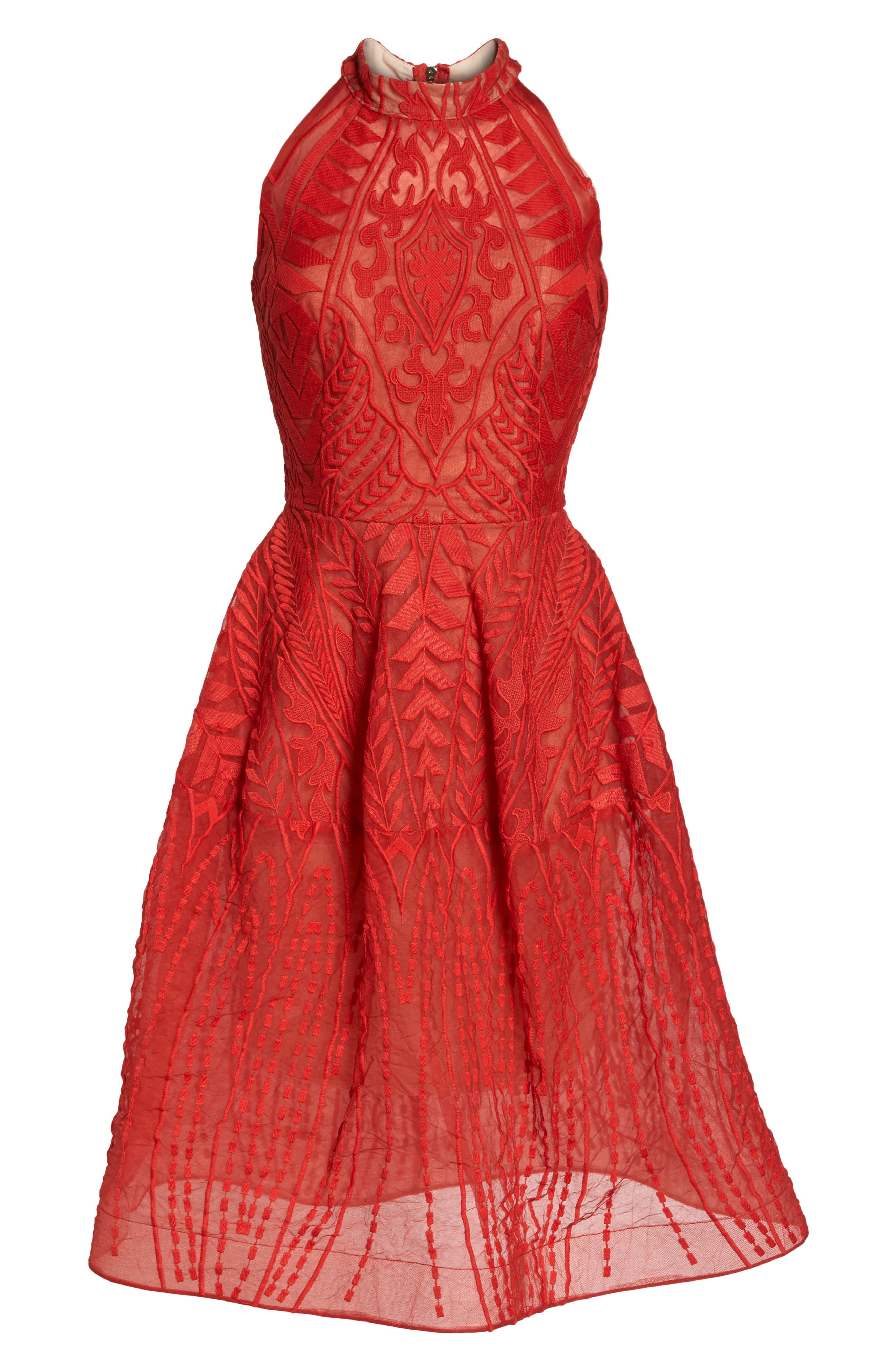 Notte Lace Fit & Flare Dress,                             Alternate thumbnail 6, color,                             Red