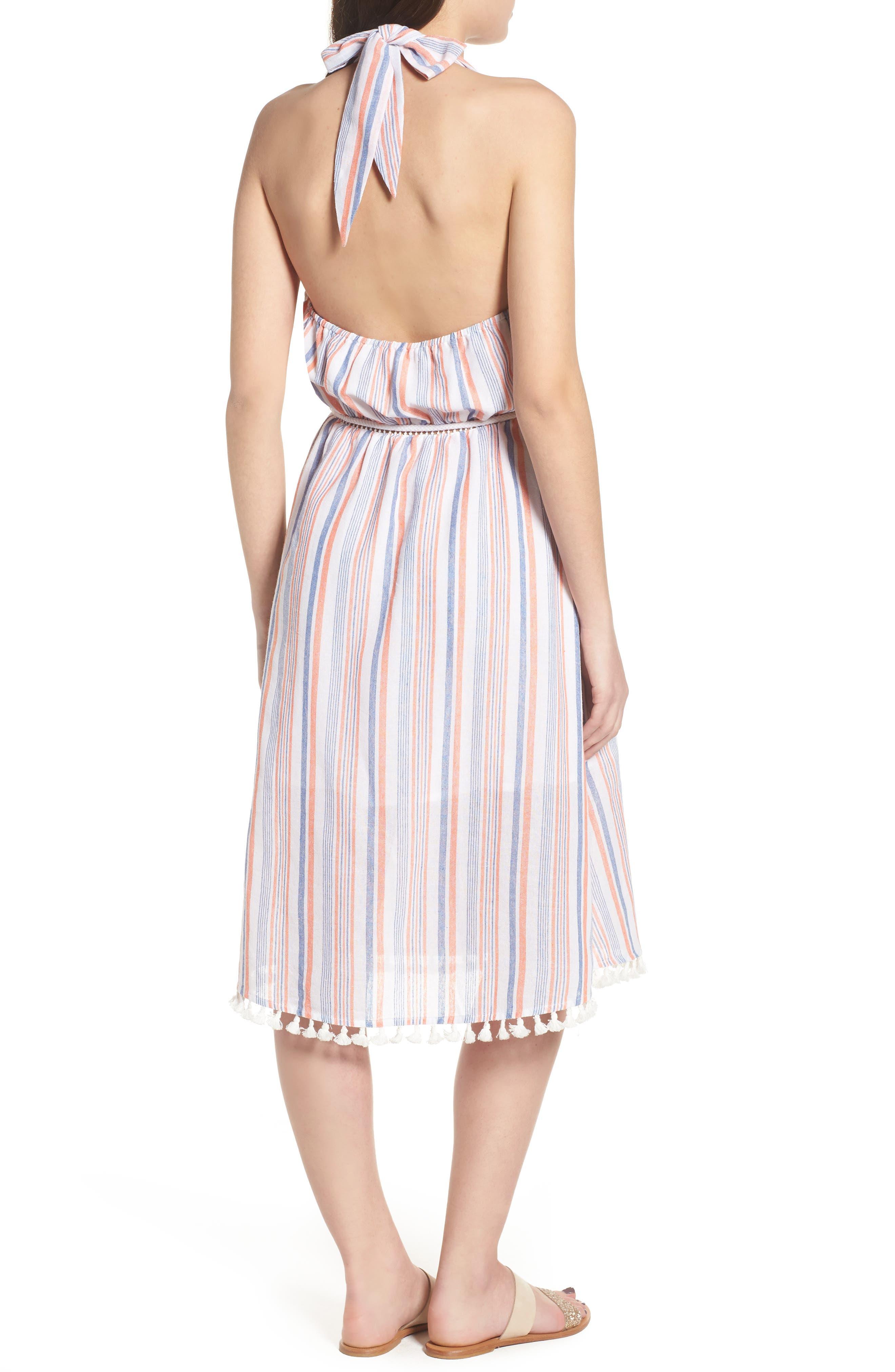 Stripe Halter Dress,                             Alternate thumbnail 3, color,                             Coral Stripe
