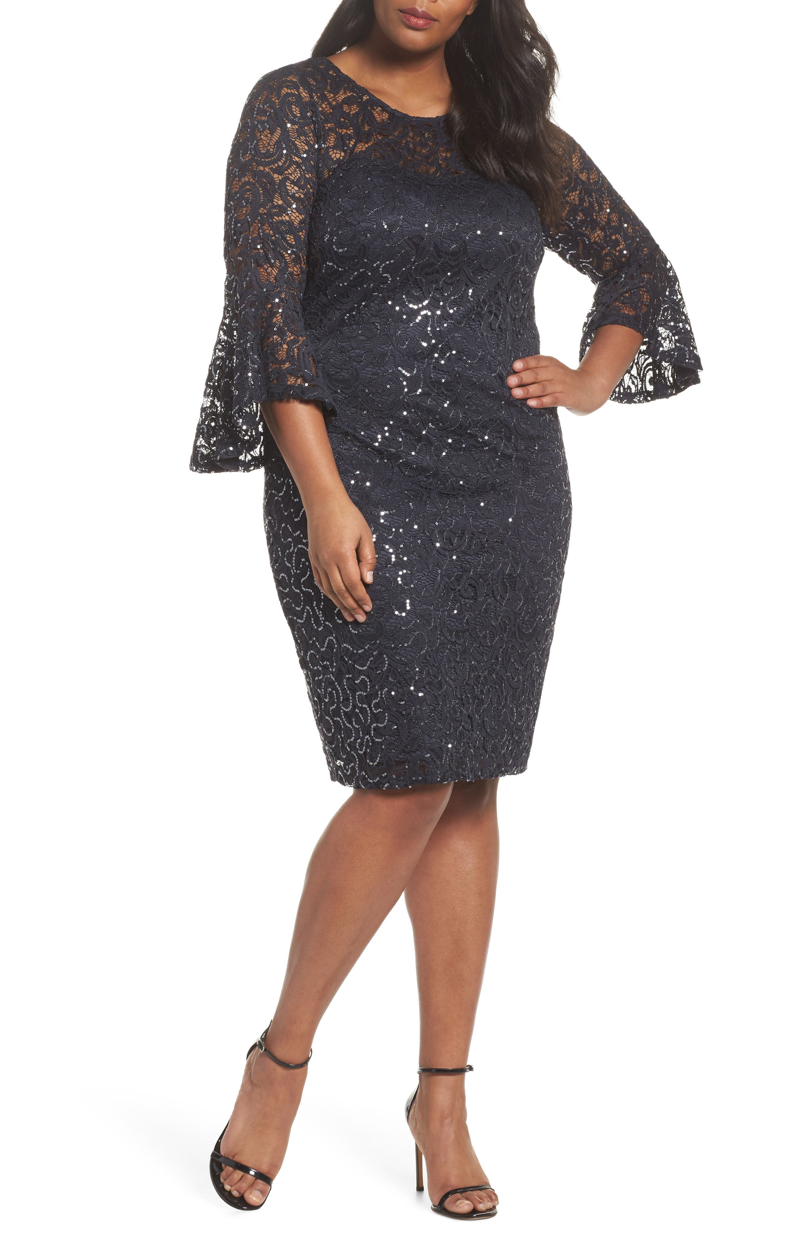 Sequin Lace Bell Sleeve Dress,                         Main,                         color, Gunmetal