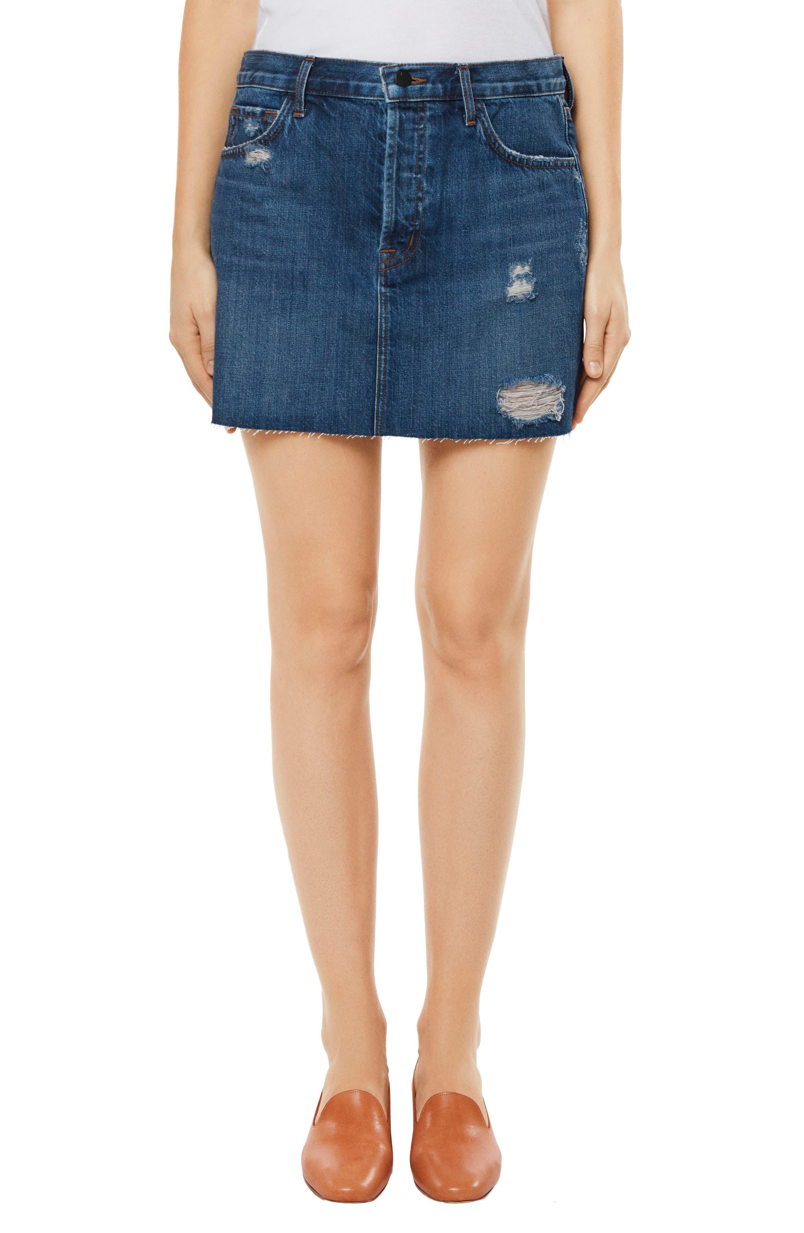 Bonny Mid Rise Denim Miniskirt,                         Main,                         color, Astonish Destruct