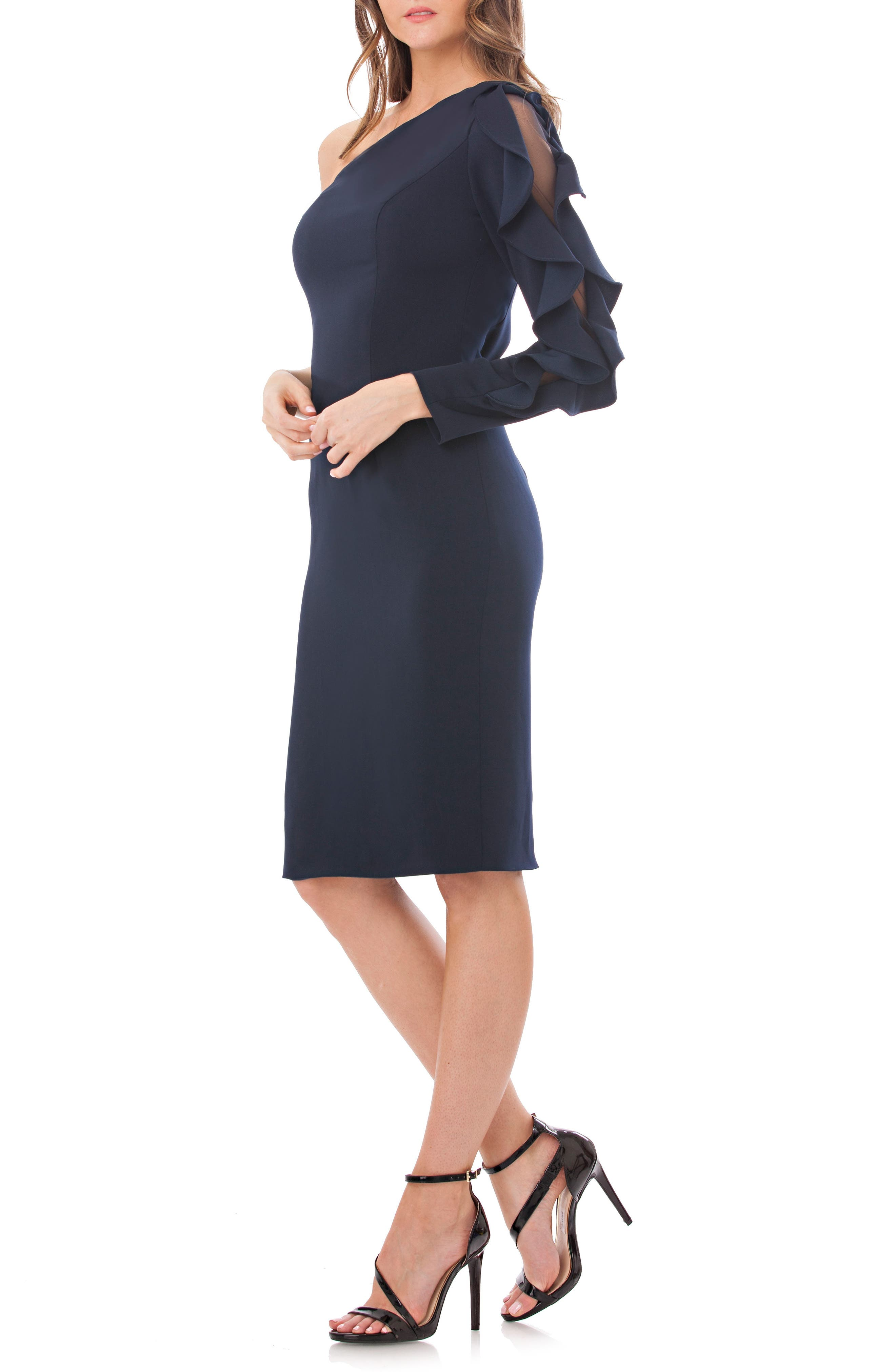 Main Image - Carmen Marc Valvo Infusion One-Shoulder Sheath Dress