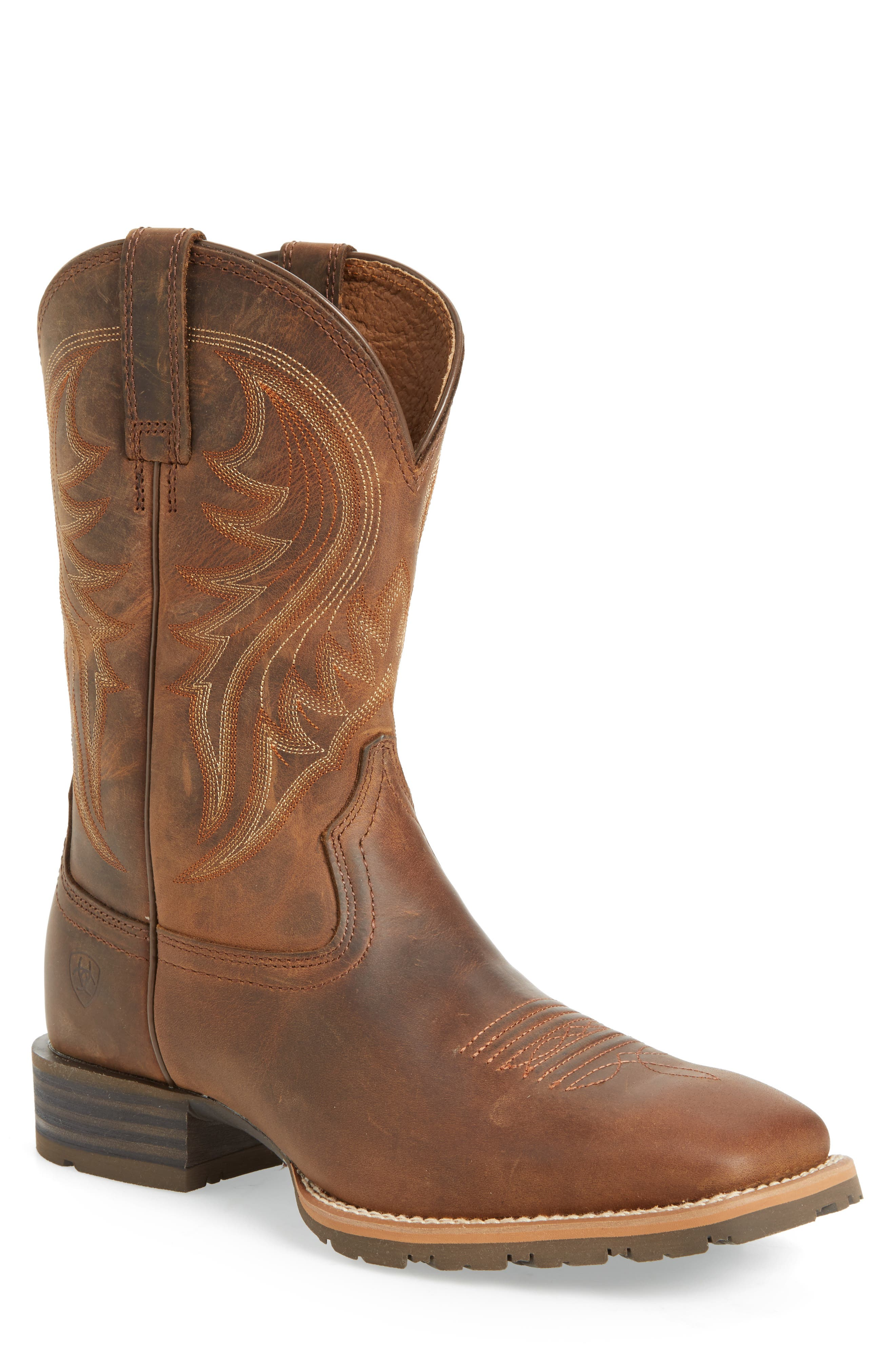 Hybrid Rancher Cowboy Boot,                             Main thumbnail 1, color,                             Distressed Brown Leather
