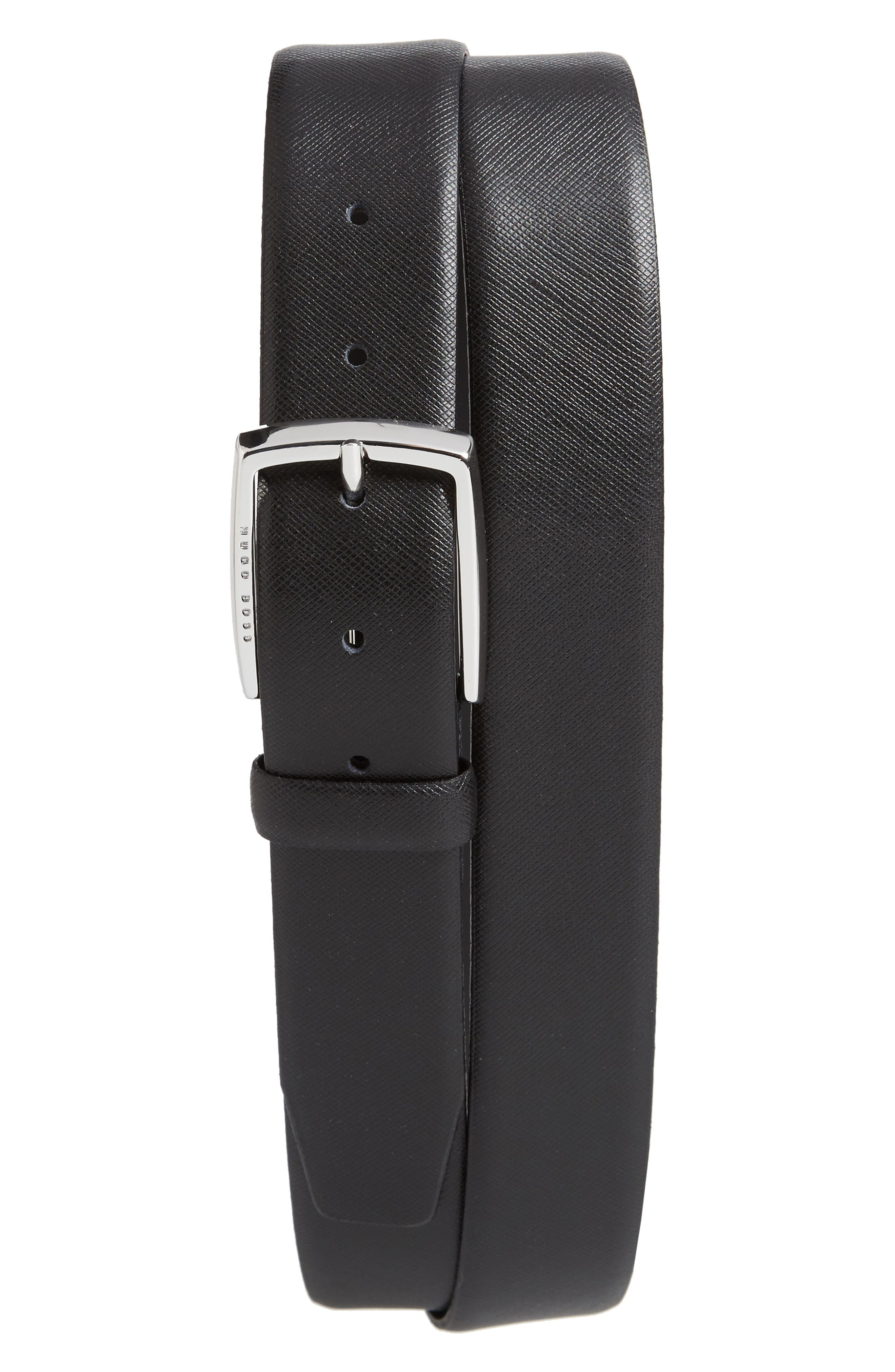 Celie Saffiano Leather Belt,                         Main,                         color, Black