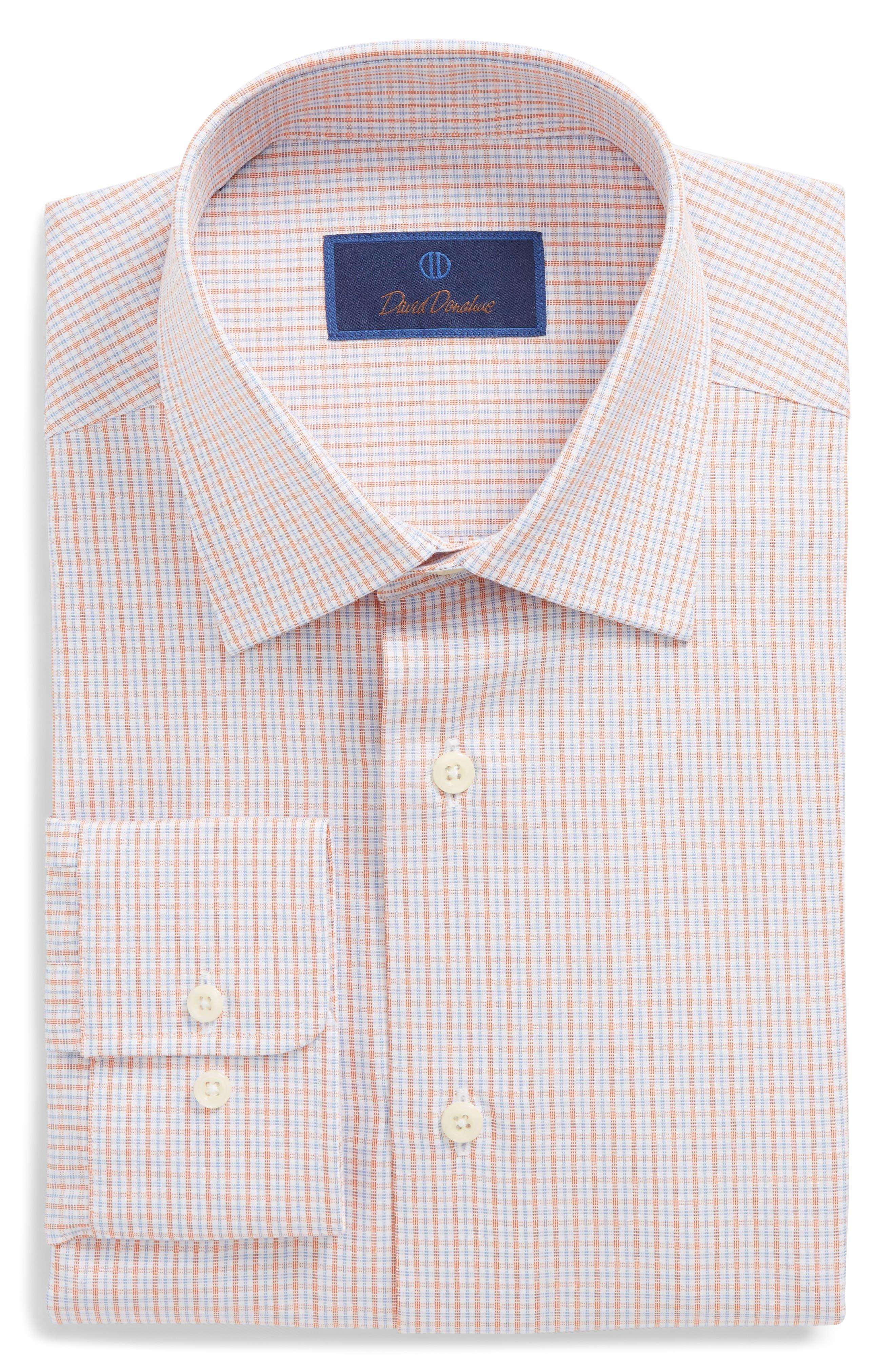 Regular Fit Check Dress Shirt,                             Main thumbnail 1, color,                             Melon