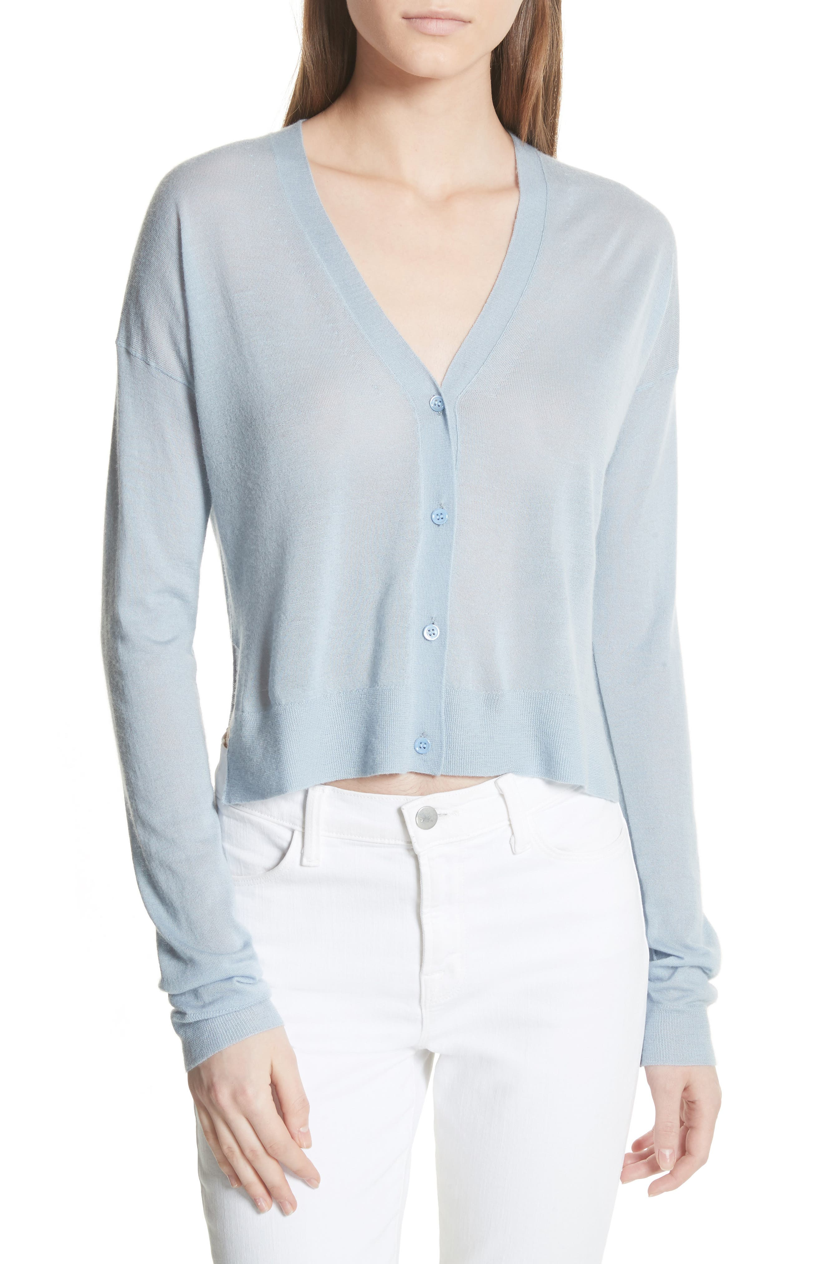 Hanelee Featherweight Cashmere Cardigan,                         Main,                         color, Baby Bluebell