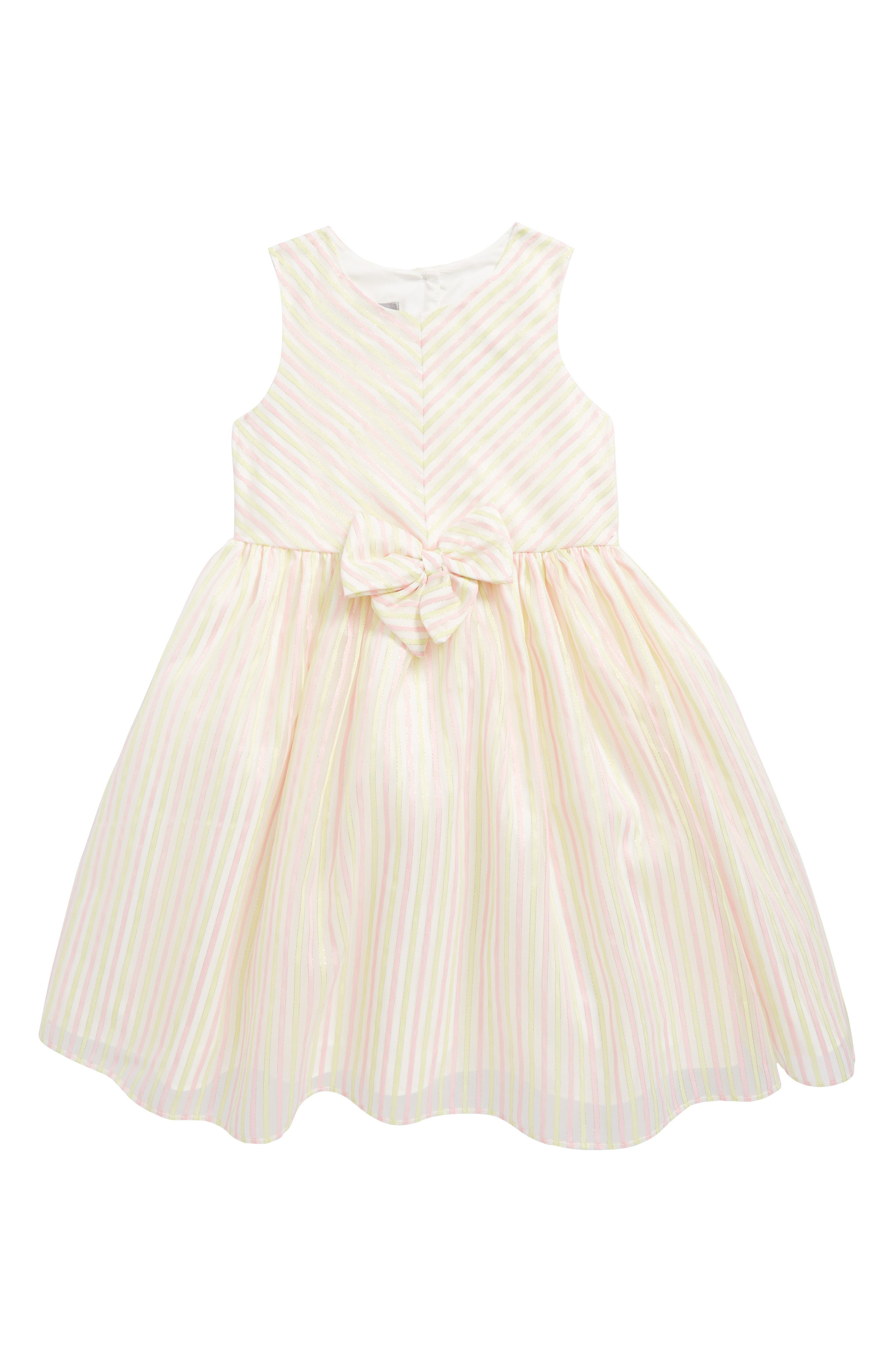 Metallic Stripe Dress,                             Main thumbnail 1, color,                             Pink Yellow